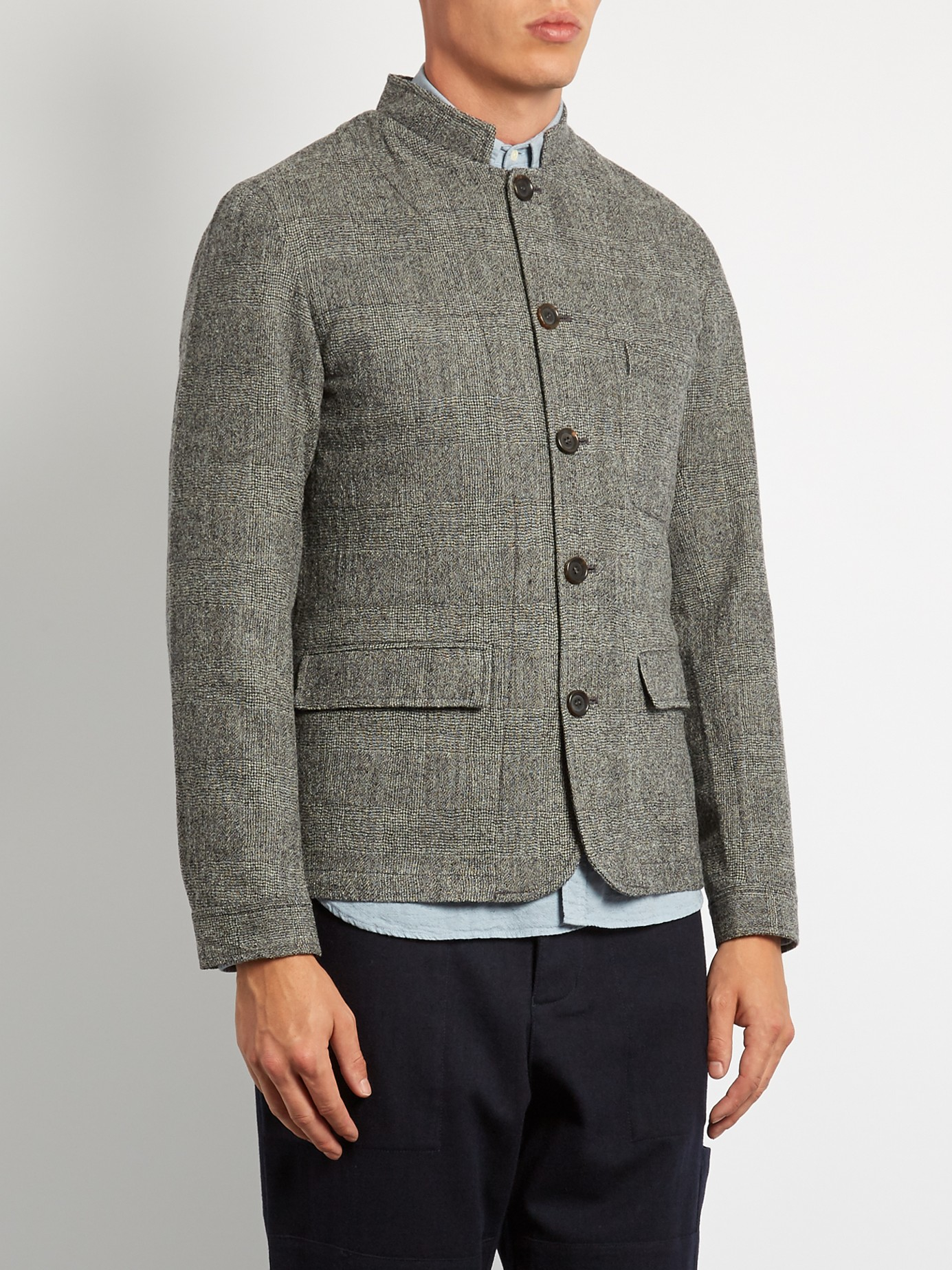 Oliver Spencer Coram Dudley Mandarin-collar Wool Jacket in Grey (Grey) for Men