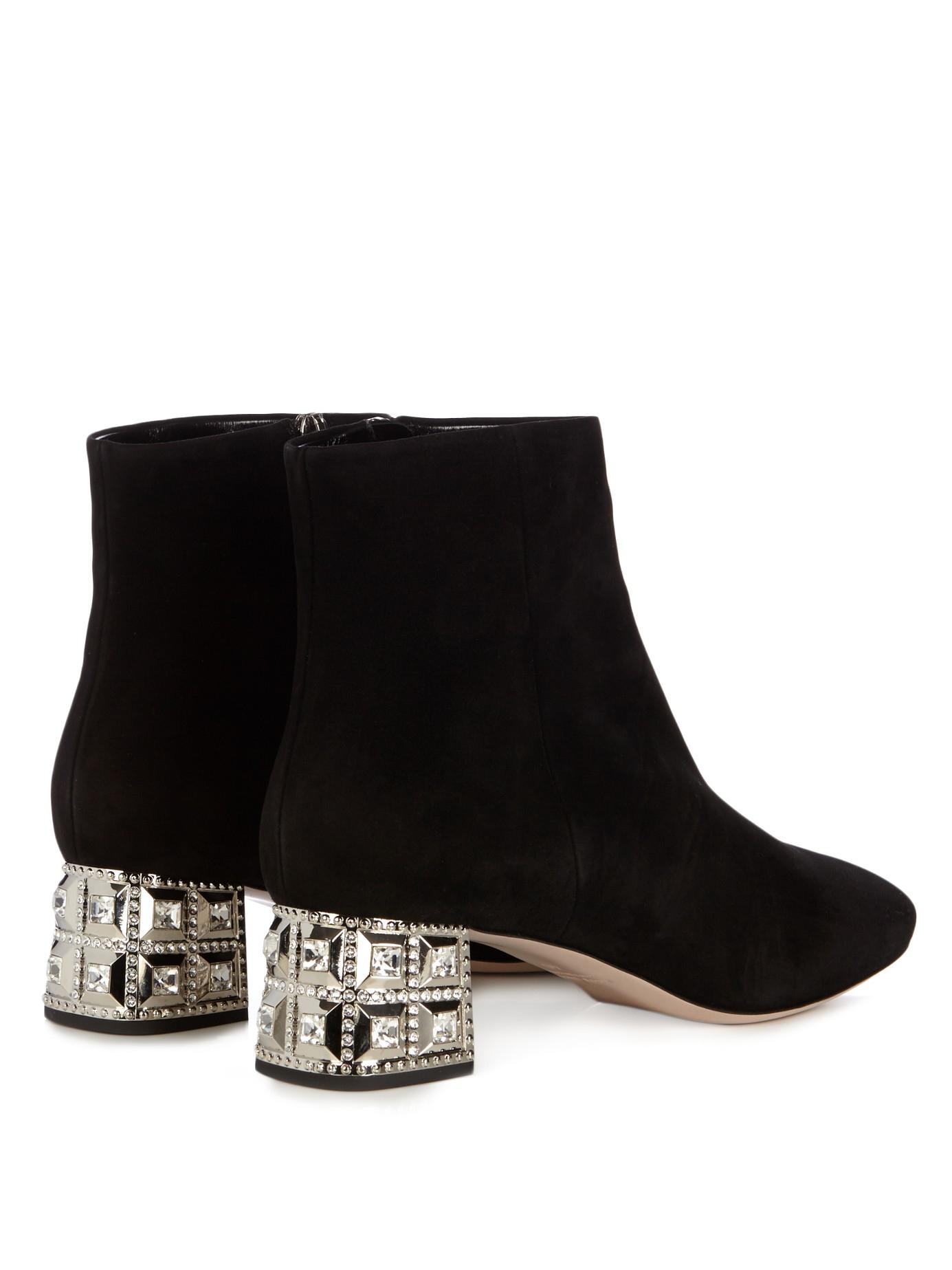 Miu Miu Crystal Embellished Heel Suede Ankle Boots In
