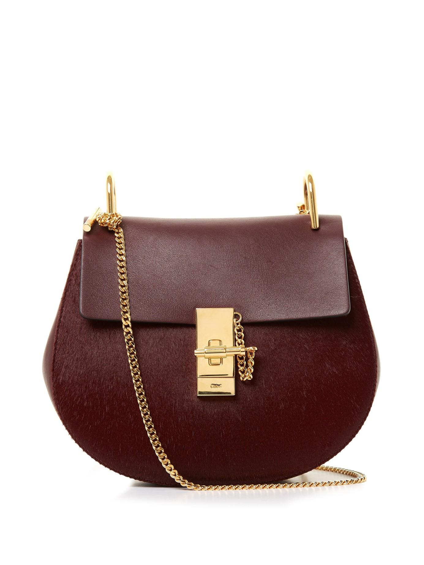 793c6134dd0e Chloé Drew Small Calf-Hair And Leather Cross-Body Bag in Purple - Lyst