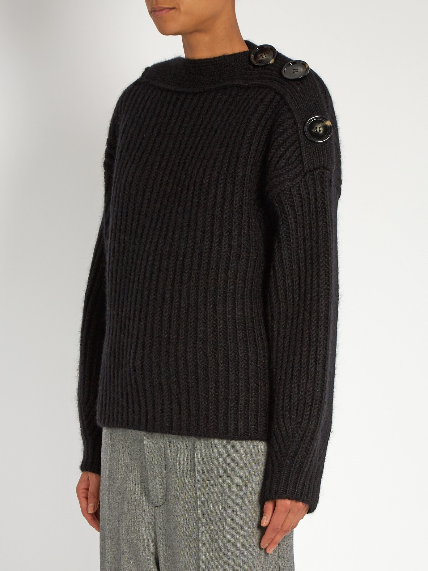 Acne Studios Holden Boat-neck Wool-blend Sweater in Black for Men