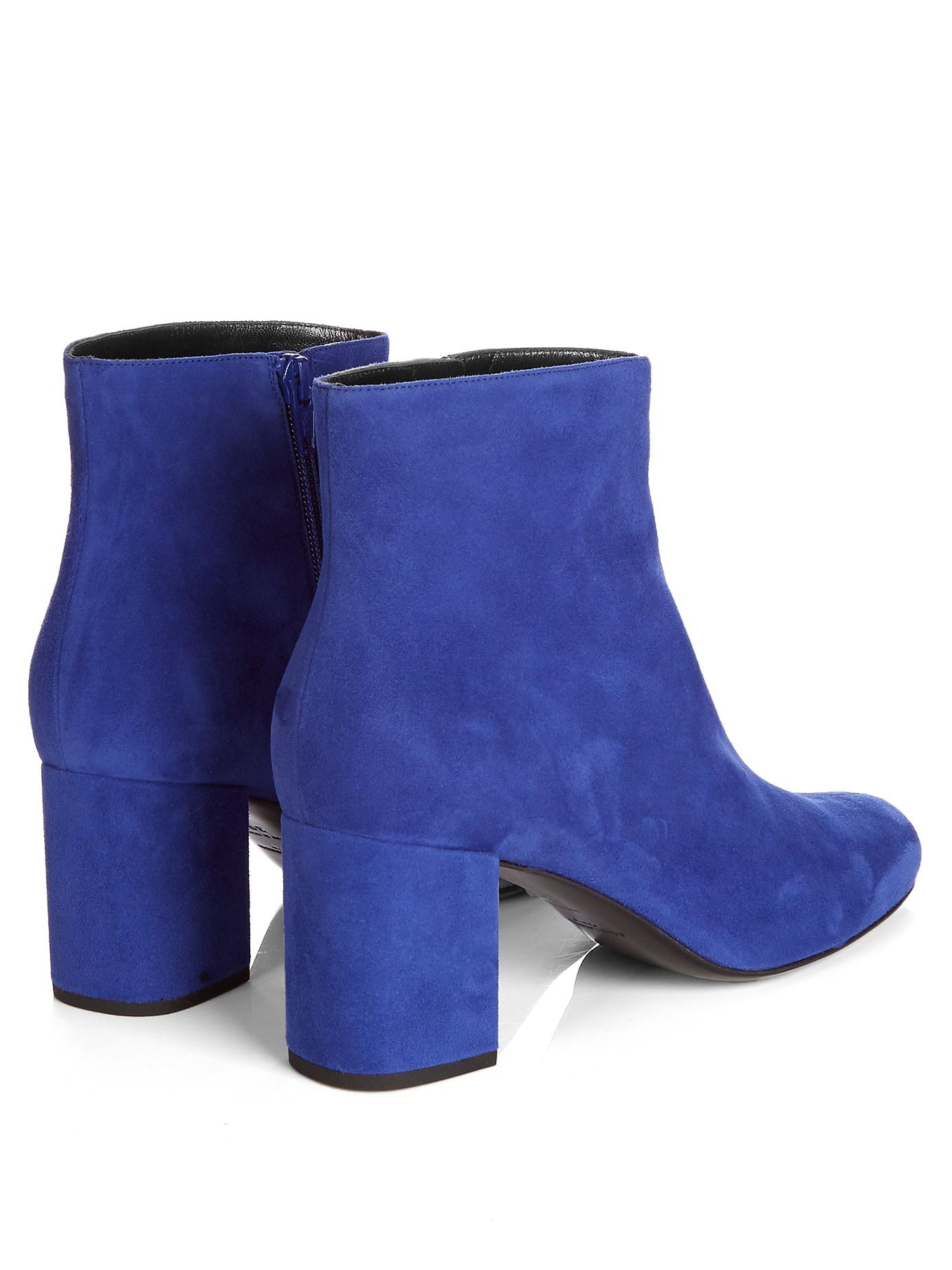 Lyst Saint Laurent Babies Block Heel Suede Ankle Boots