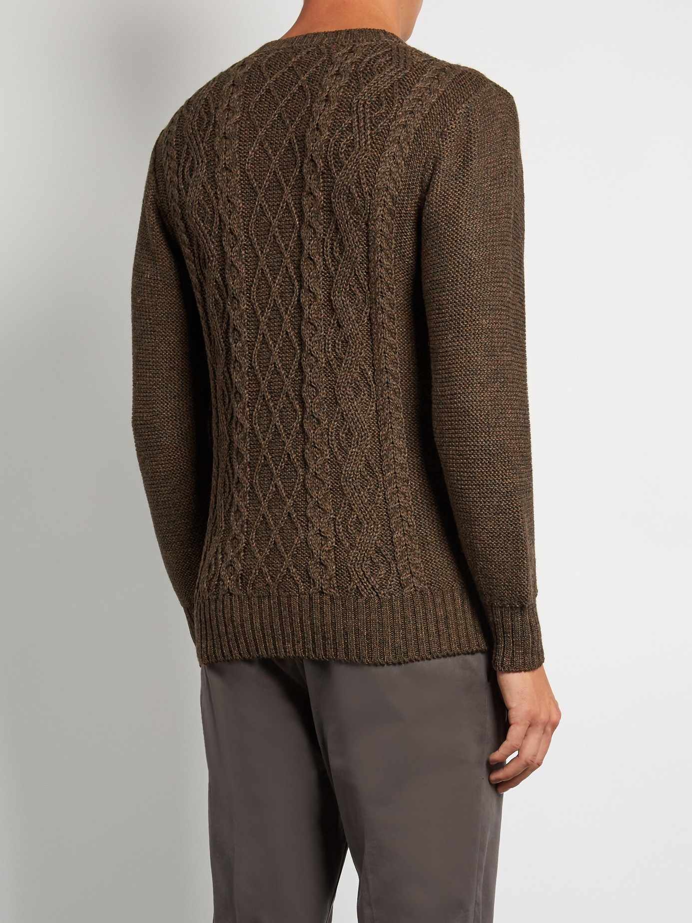 Alpaca Aran Knitting Pattern : Inis meain Aran-knit Alpaca And Silk-blend Sweater in ...