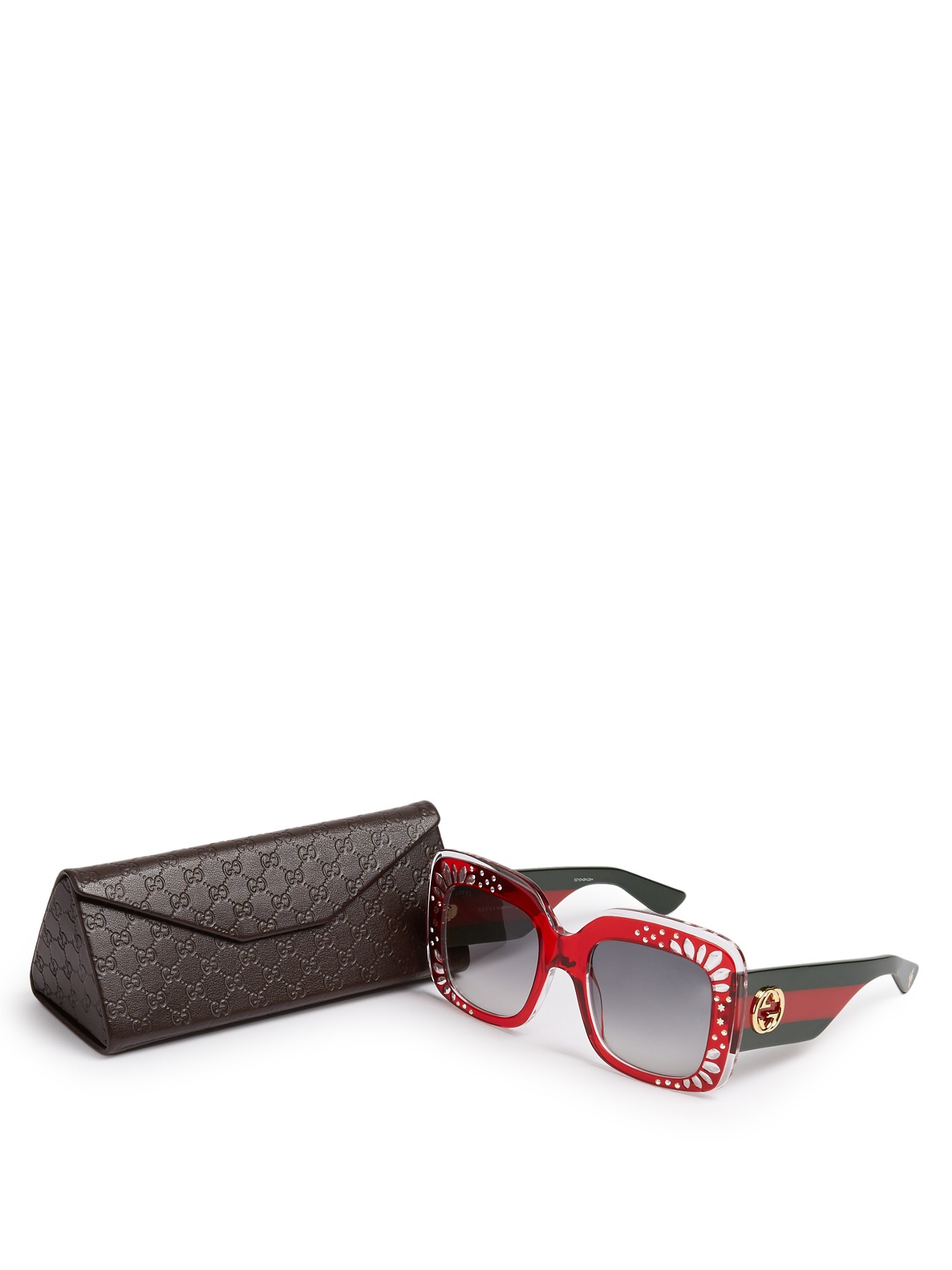 Gucci Oversized Square-frame Acetate Sunglasses in Red Lyst