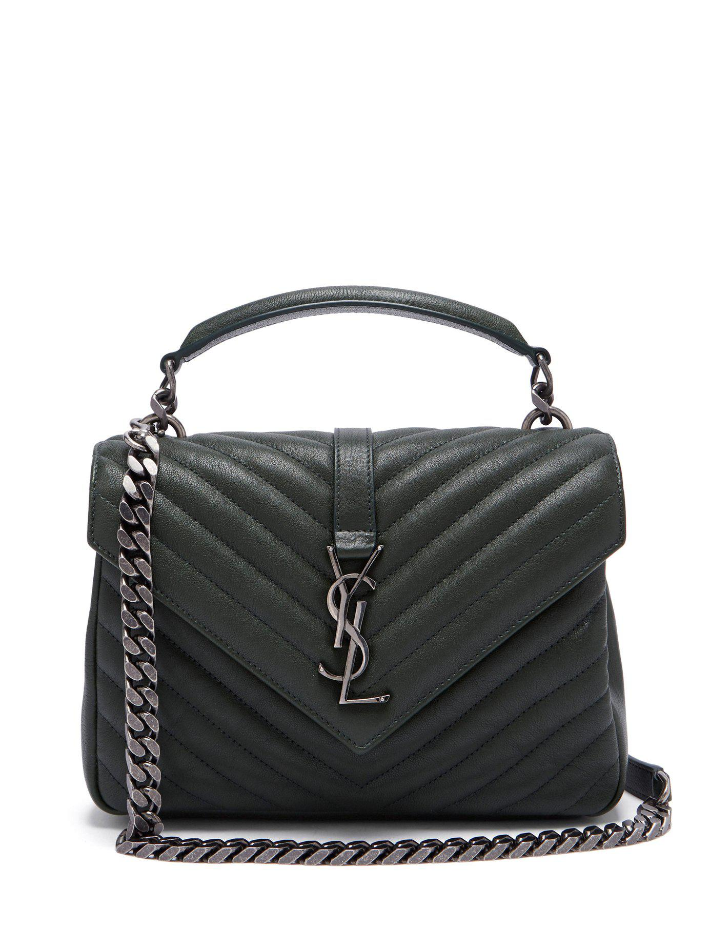 Lyst - Saint Laurent Collège Medium Quilted Leather Cross Body Bag ... 22977efc8f47f