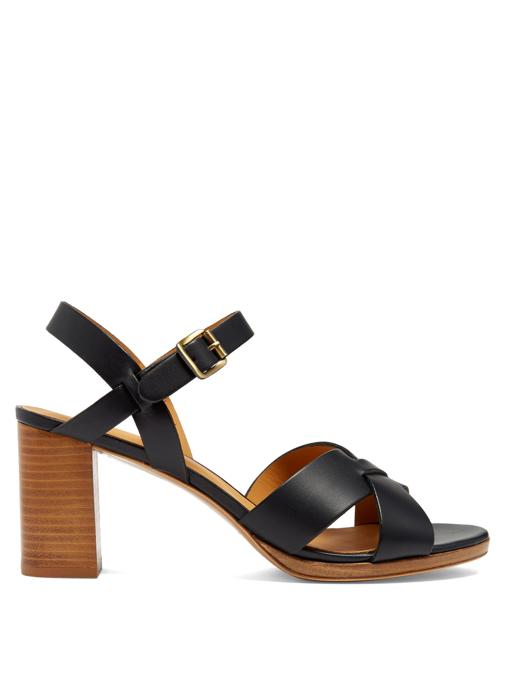 A.p.c. Opéra Block-heel Leather Sandals in Blue