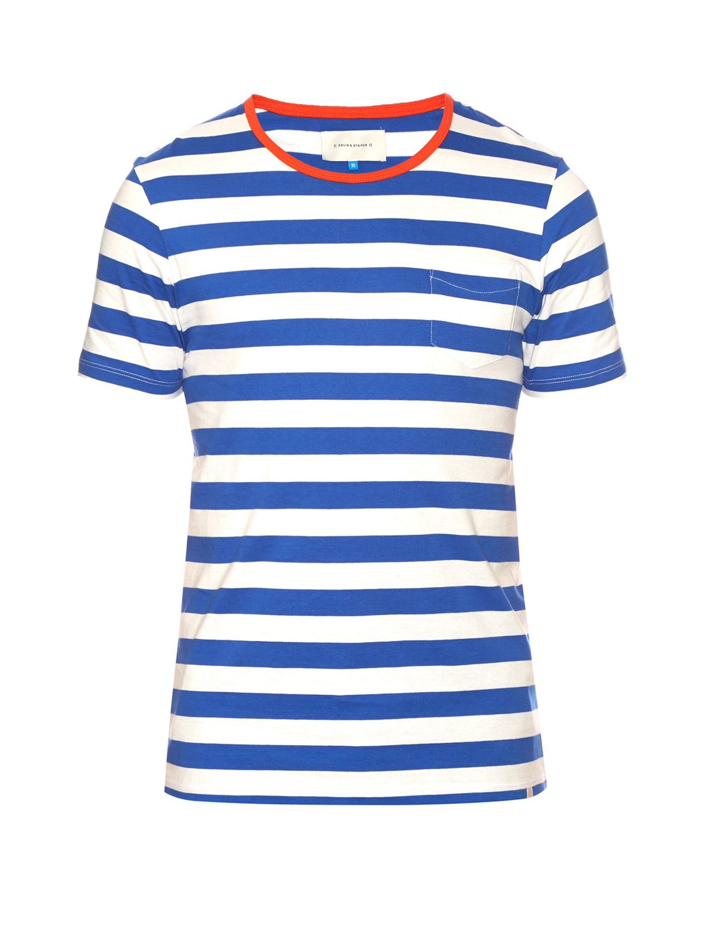 Solid striped crew neck striped t shirt in blue for men for Blue striped shirt mens