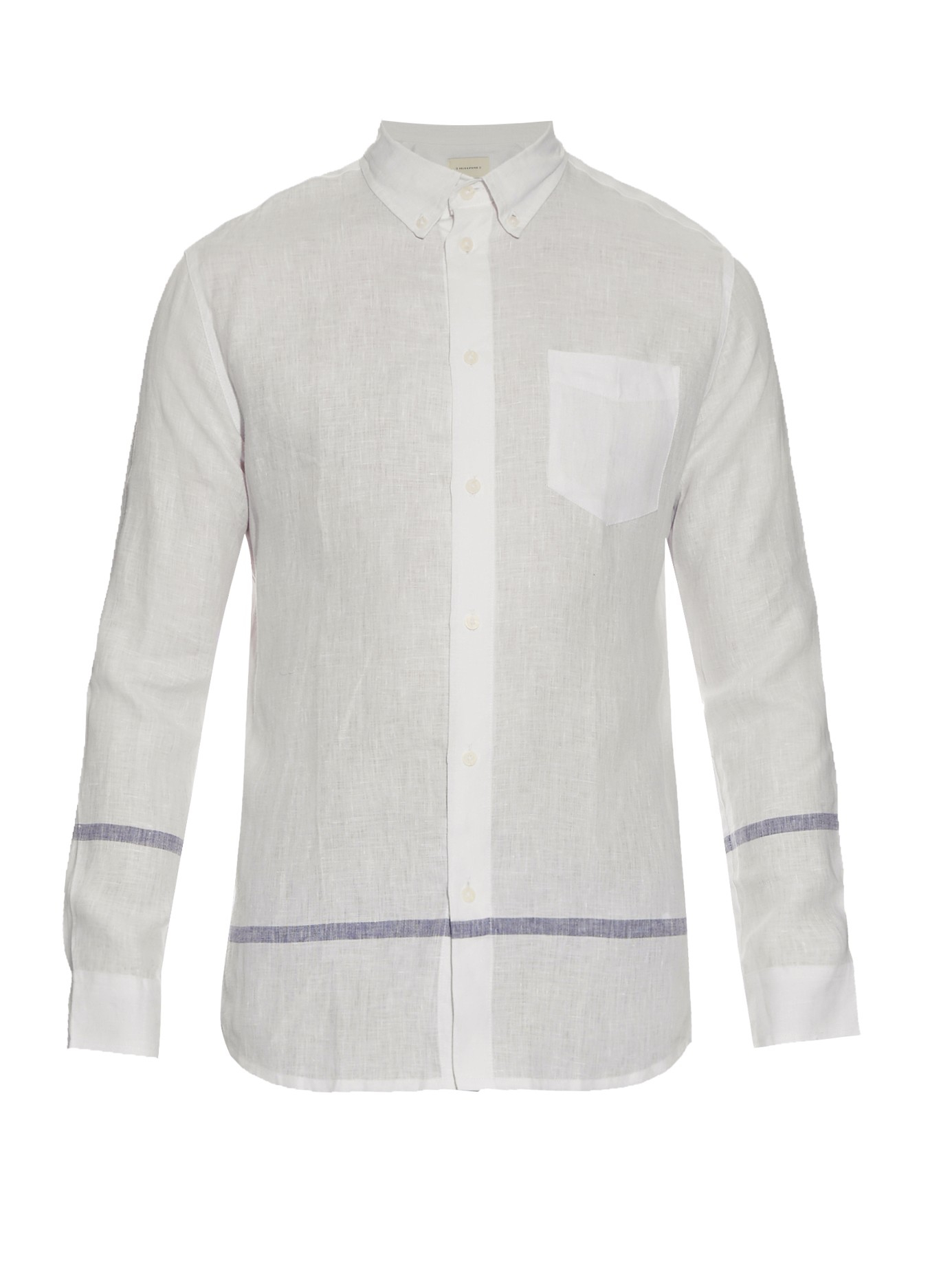 Solid striped the button down linen shirt for men lyst for Striped button down shirts for men