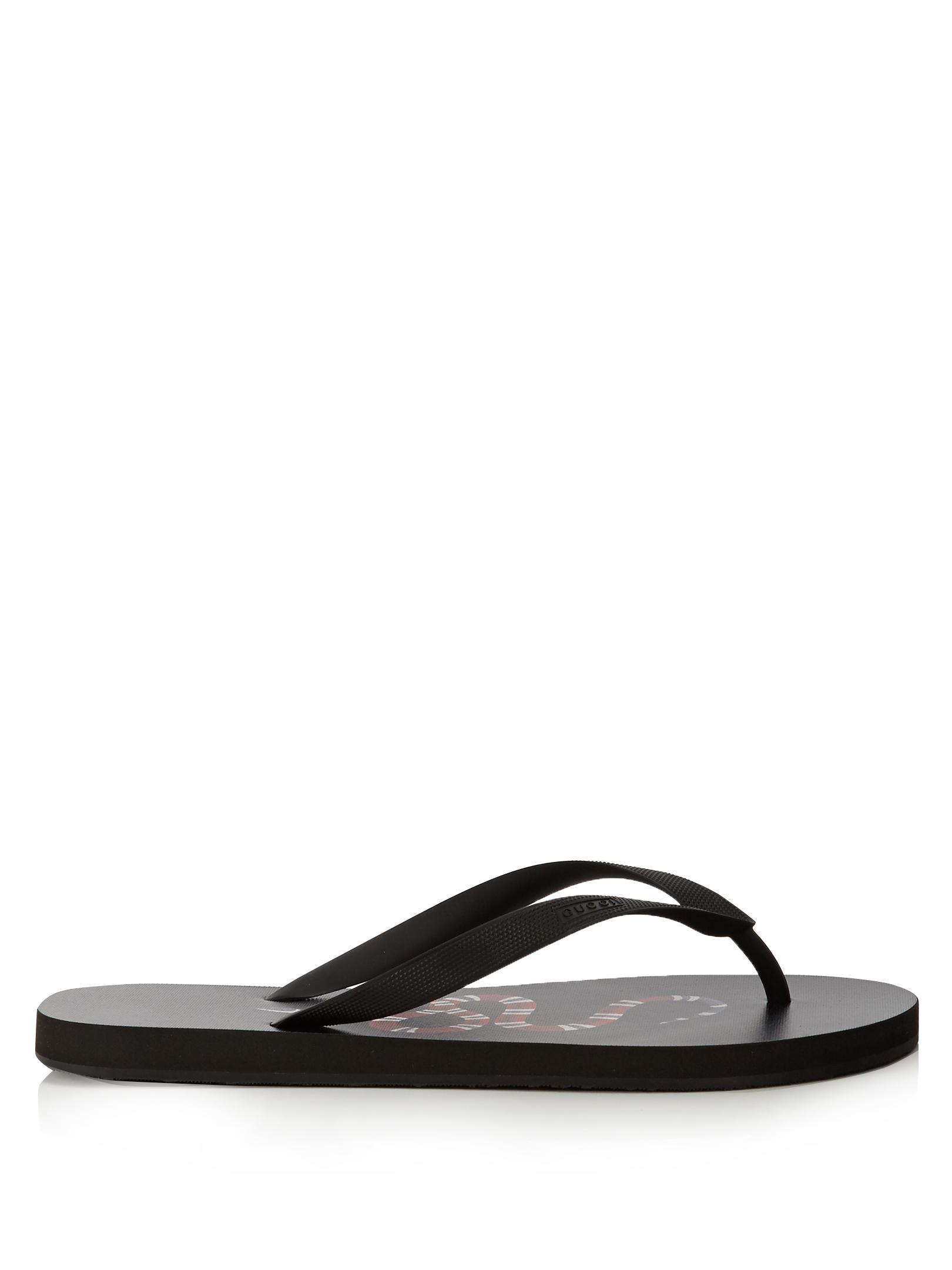 bcba144bdea727 Lyst - Gucci Snake-print Flip Flops in Black for Men