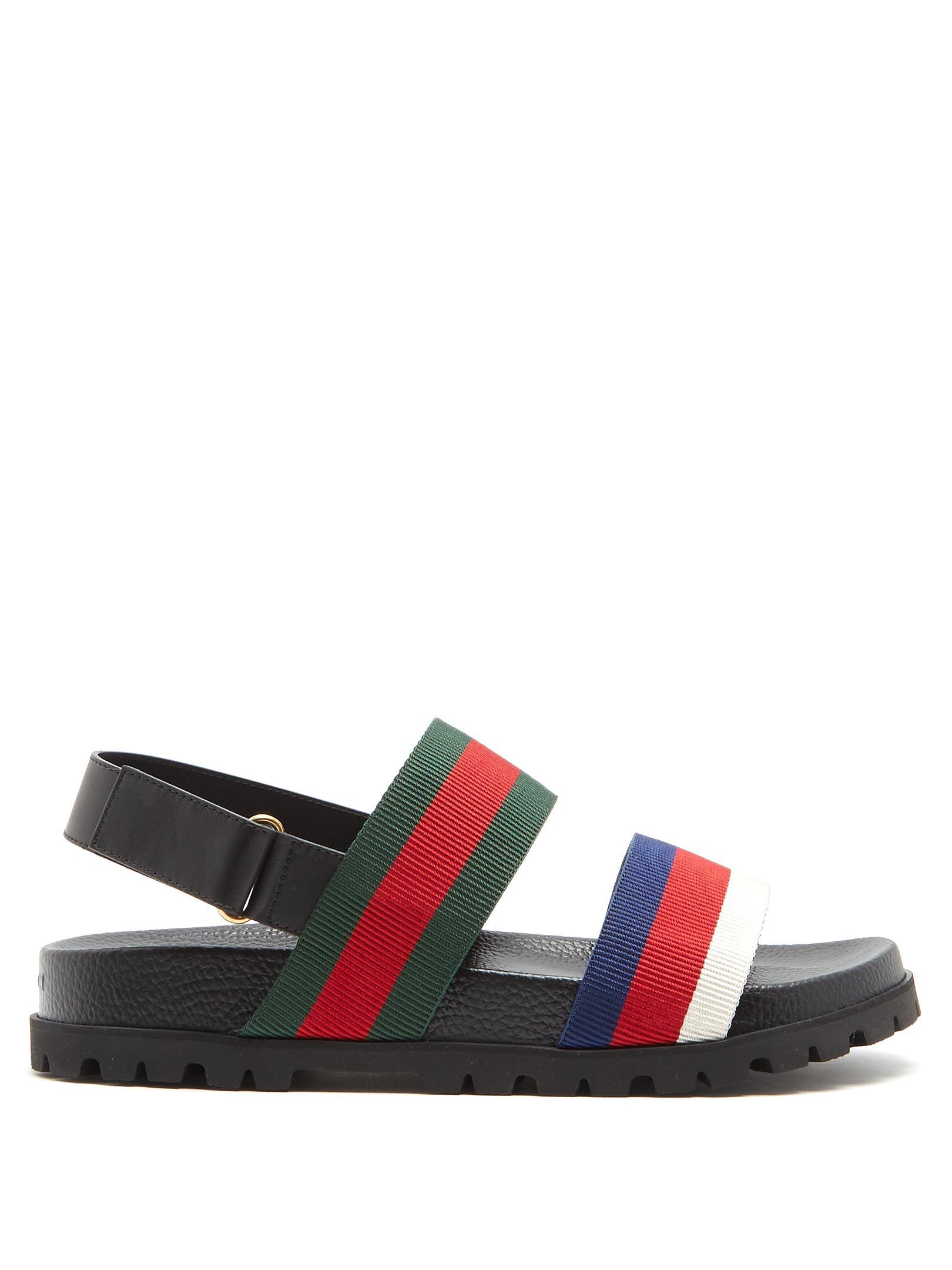 6523667c4b57 Lyst - Gucci Rimini Striped Sandal in Black for Men