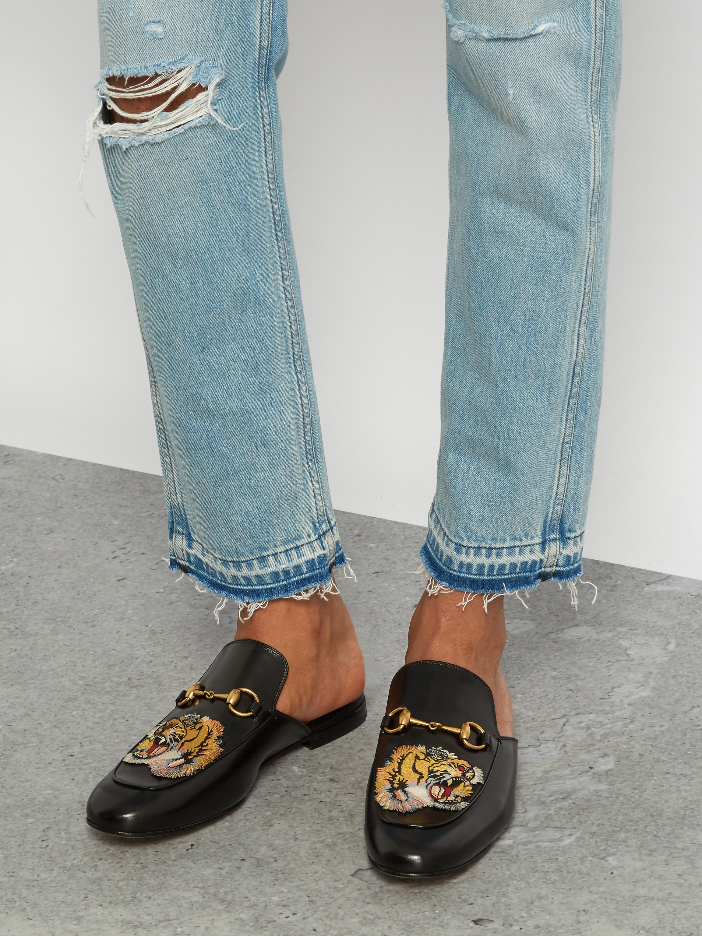 99a8e979bd6 Lyst - Gucci Tiger-head Embroidered Backless Loafers in Black for Men