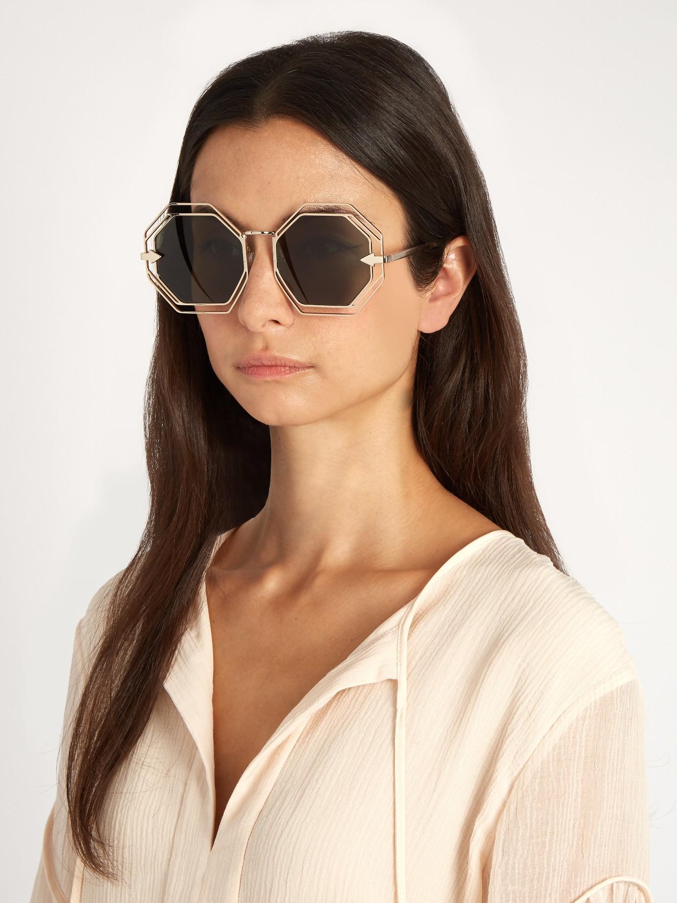 Karen Walker Emmanuel Hexagon-frame Sunglasses in Gold (Metallic)