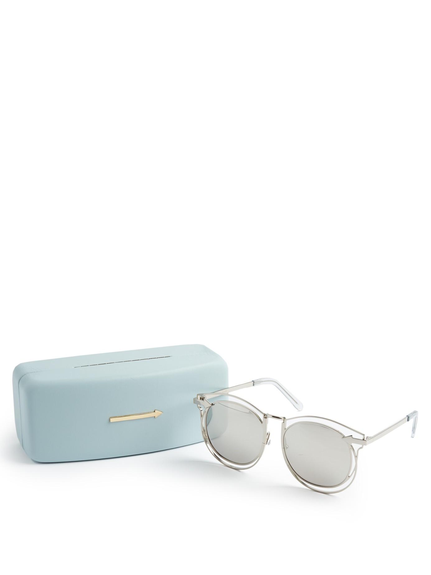 Karen Walker Simone Round-frame Sunglasses in Silver (Metallic)
