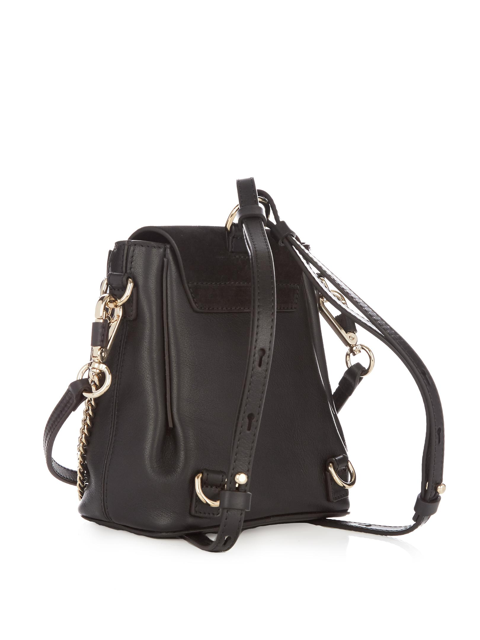 lyst chlo faye mini suede and leather backpack in black. Black Bedroom Furniture Sets. Home Design Ideas