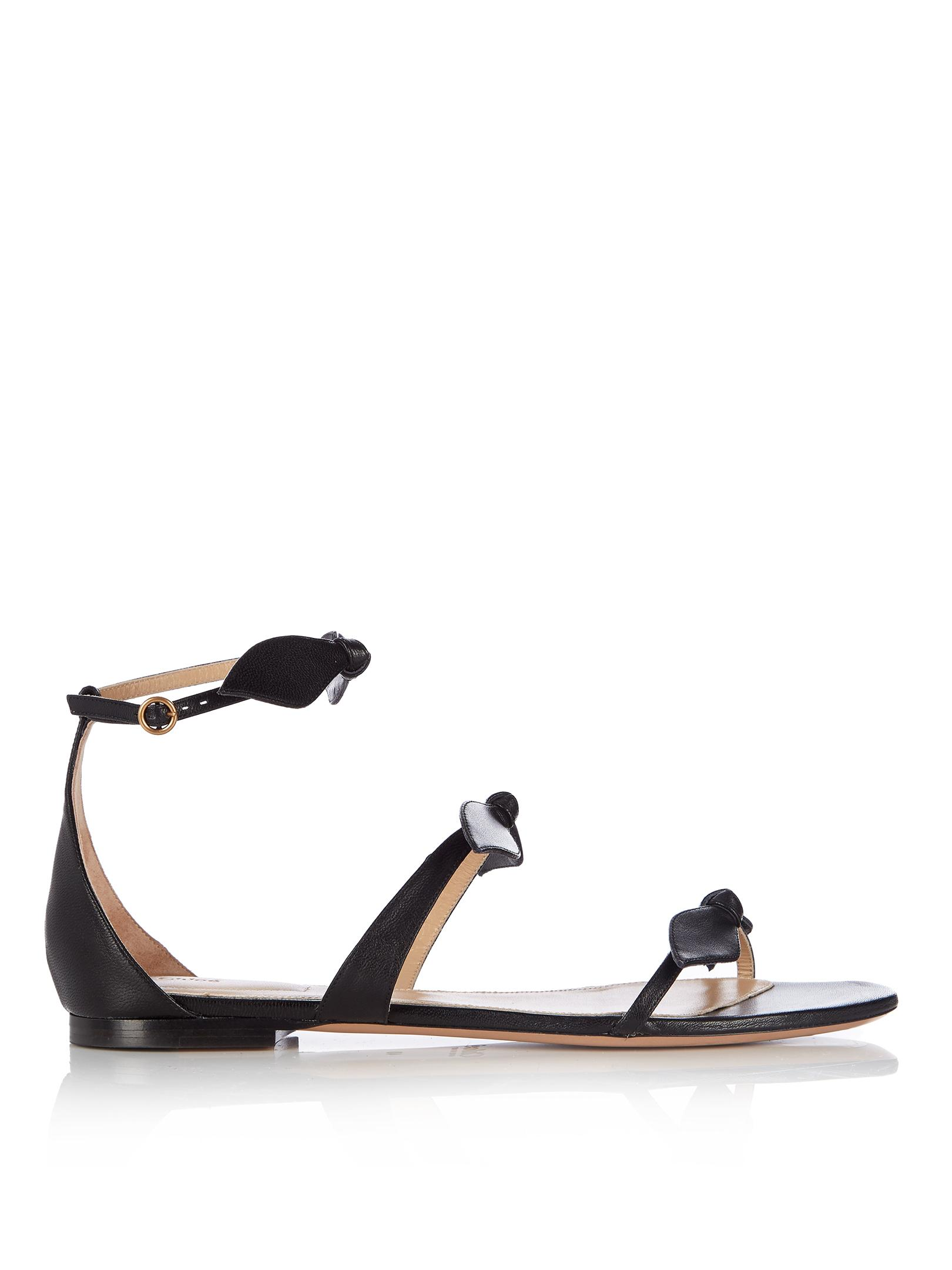 Chlo 233 Mike Bow Front Leather Sandals In Black Lyst