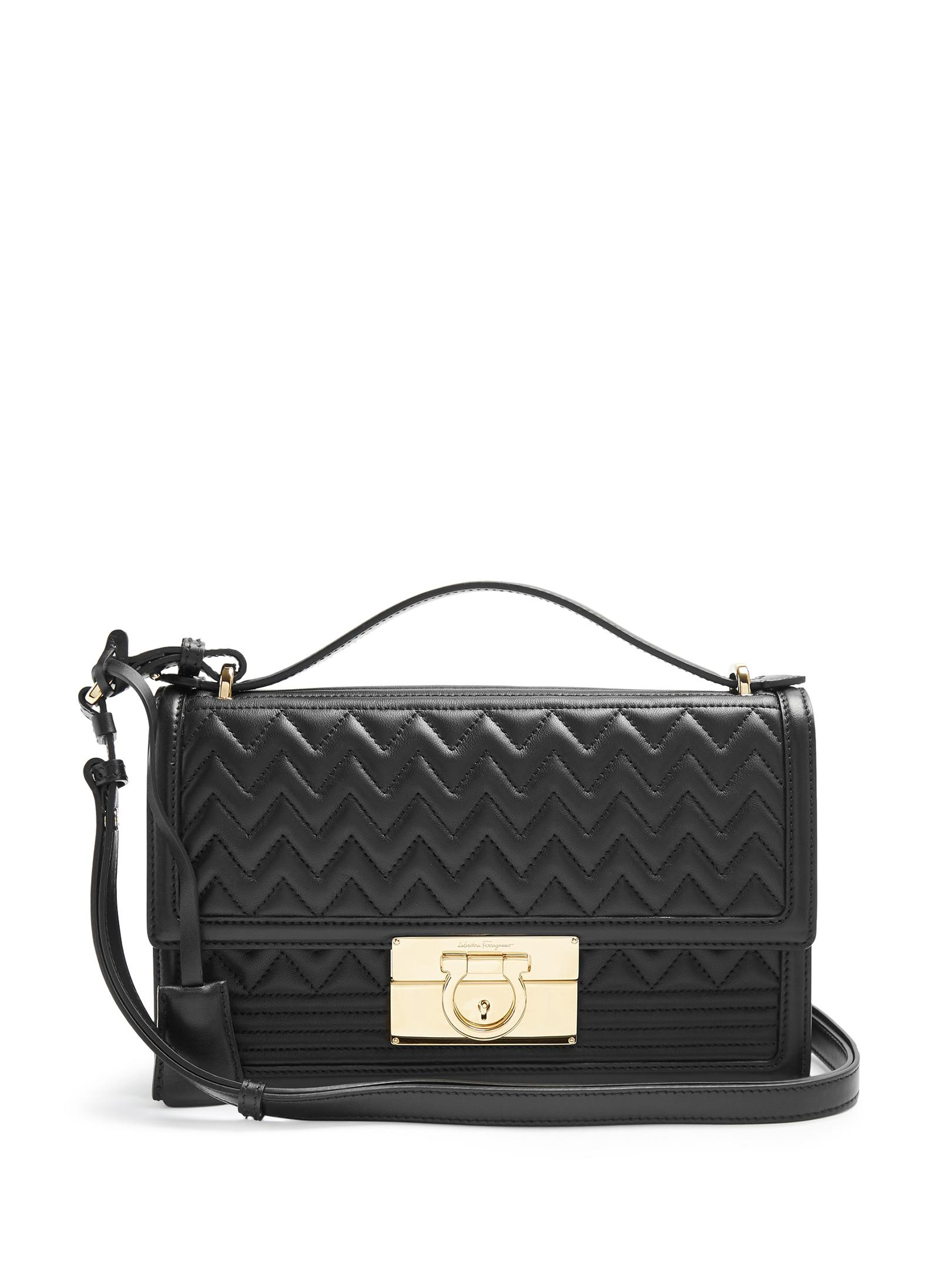 Ferragamo Aileen Quilted-leather Shoulder Bag in Black   Lyst 559e9a5fab