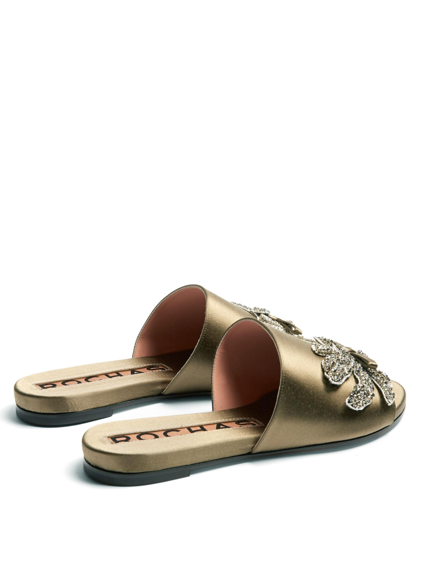 Rochas Crystal-embellished satin slides Buy Cheap Marketable Pictures For Sale Reliable Cheap Price Outlet Original DZY6pFVI7b