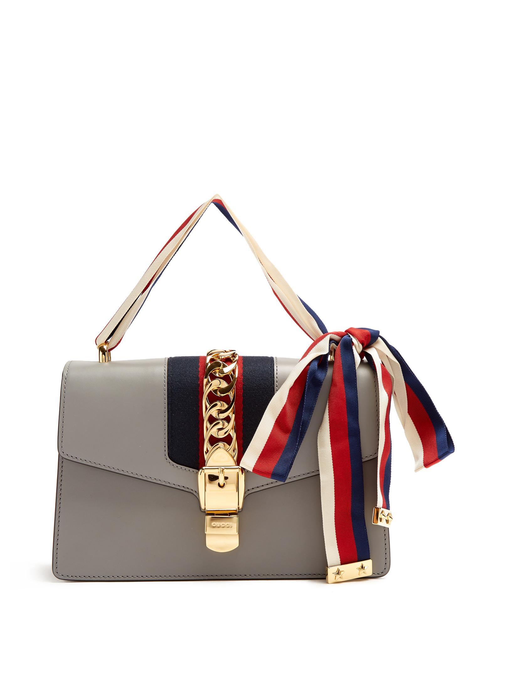 a19e079af58 Gucci Sylvie Leather Shoulder Bag in Gray - Lyst