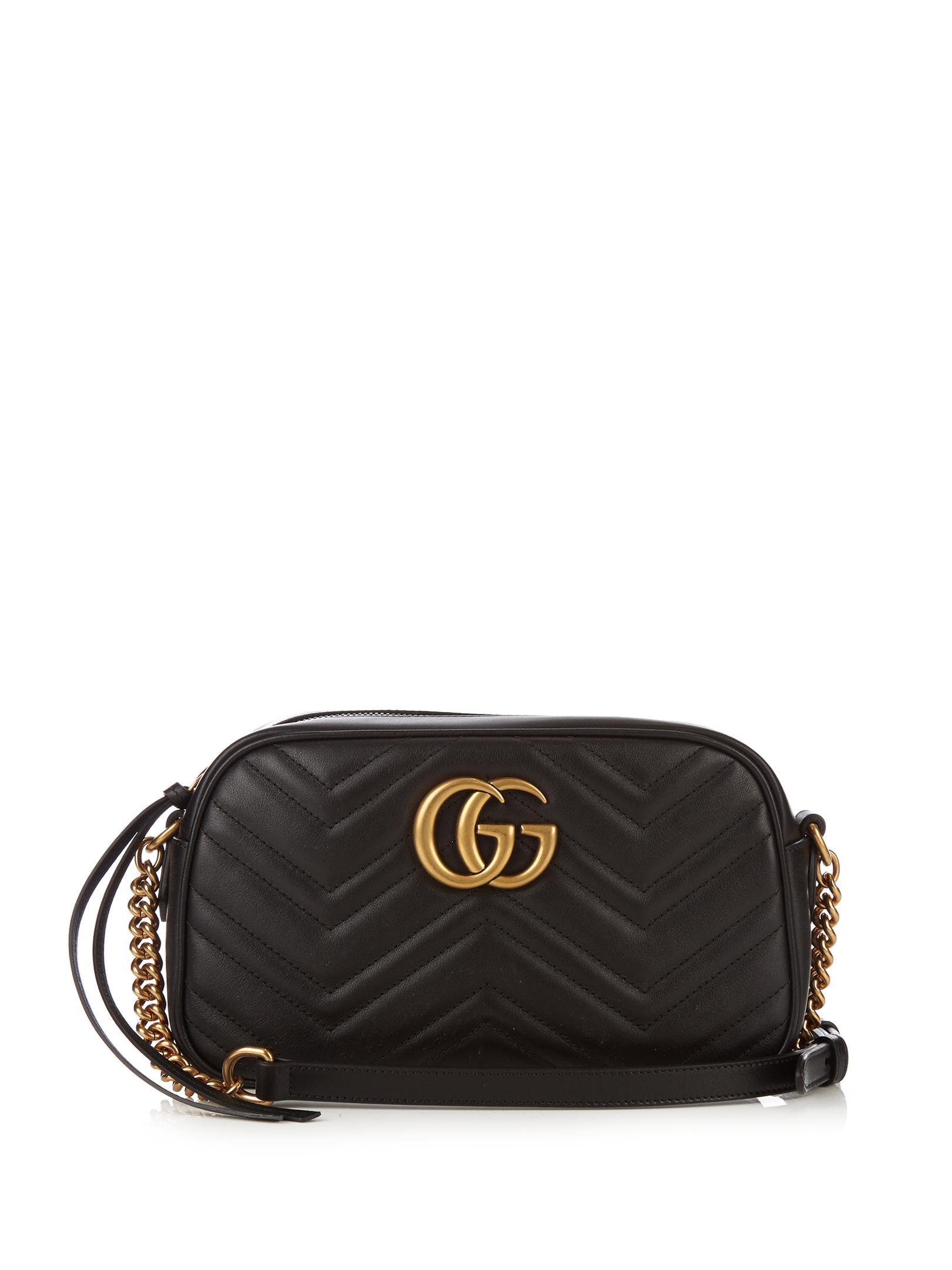 Gucci Gg Marmont Chevron Leather Cross Body Bag In Black