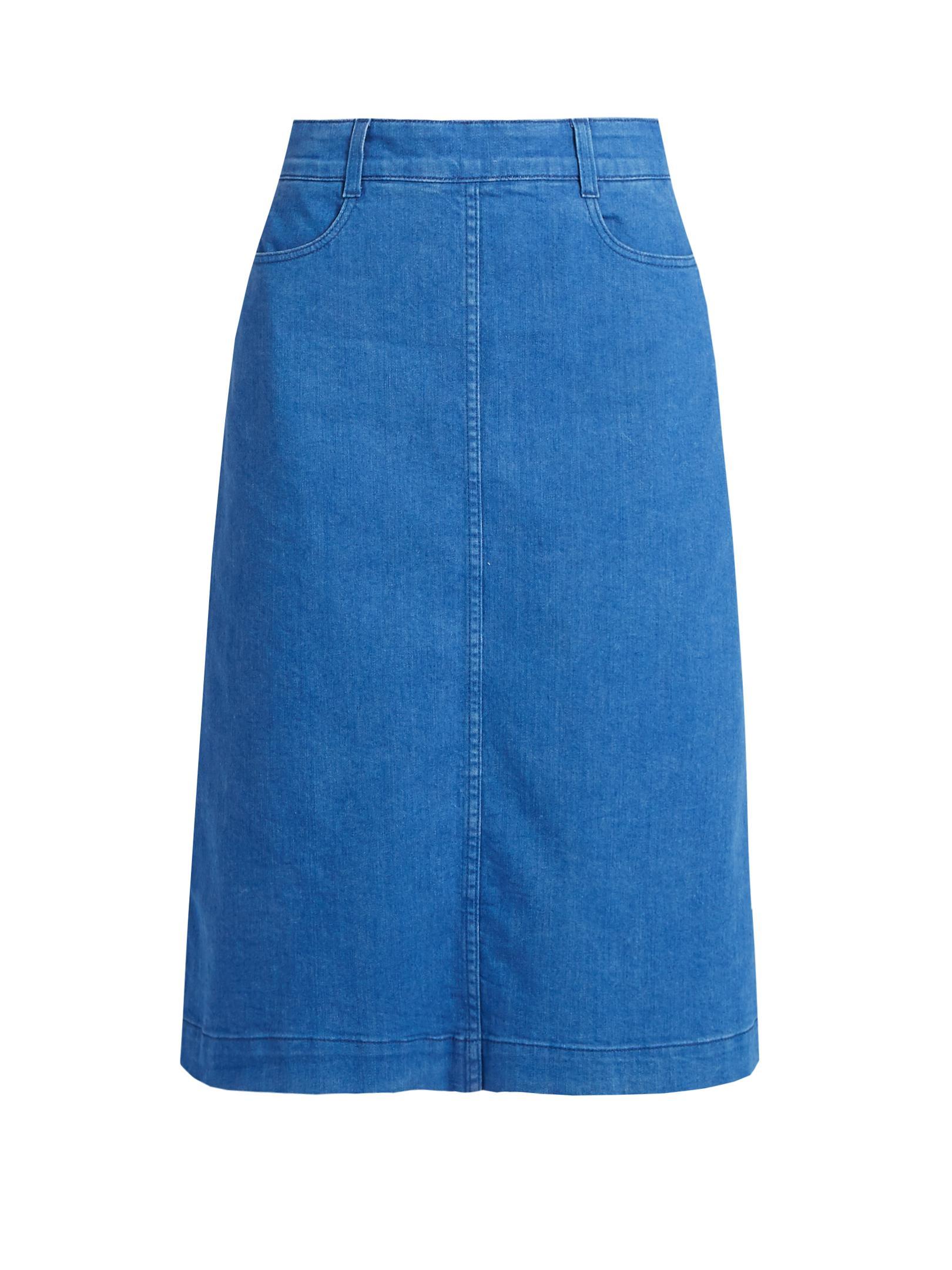 stella mccartney high rise denim midi skirt in blue lyst