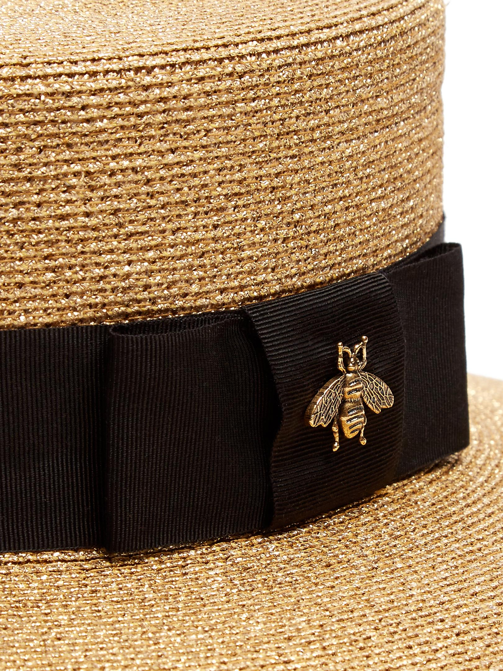 Gucci Straw Boater Hat In Metallic Lyst