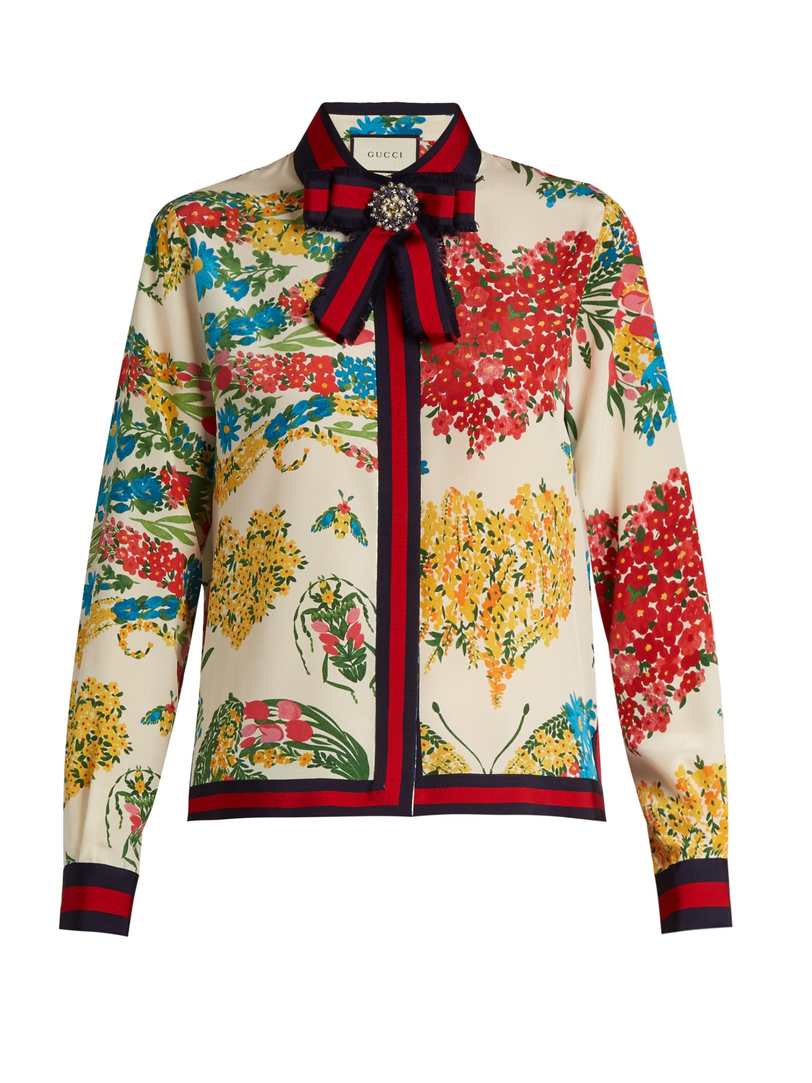 Gucci Corsage Print Silk Crepe De Chine Shirt Lyst