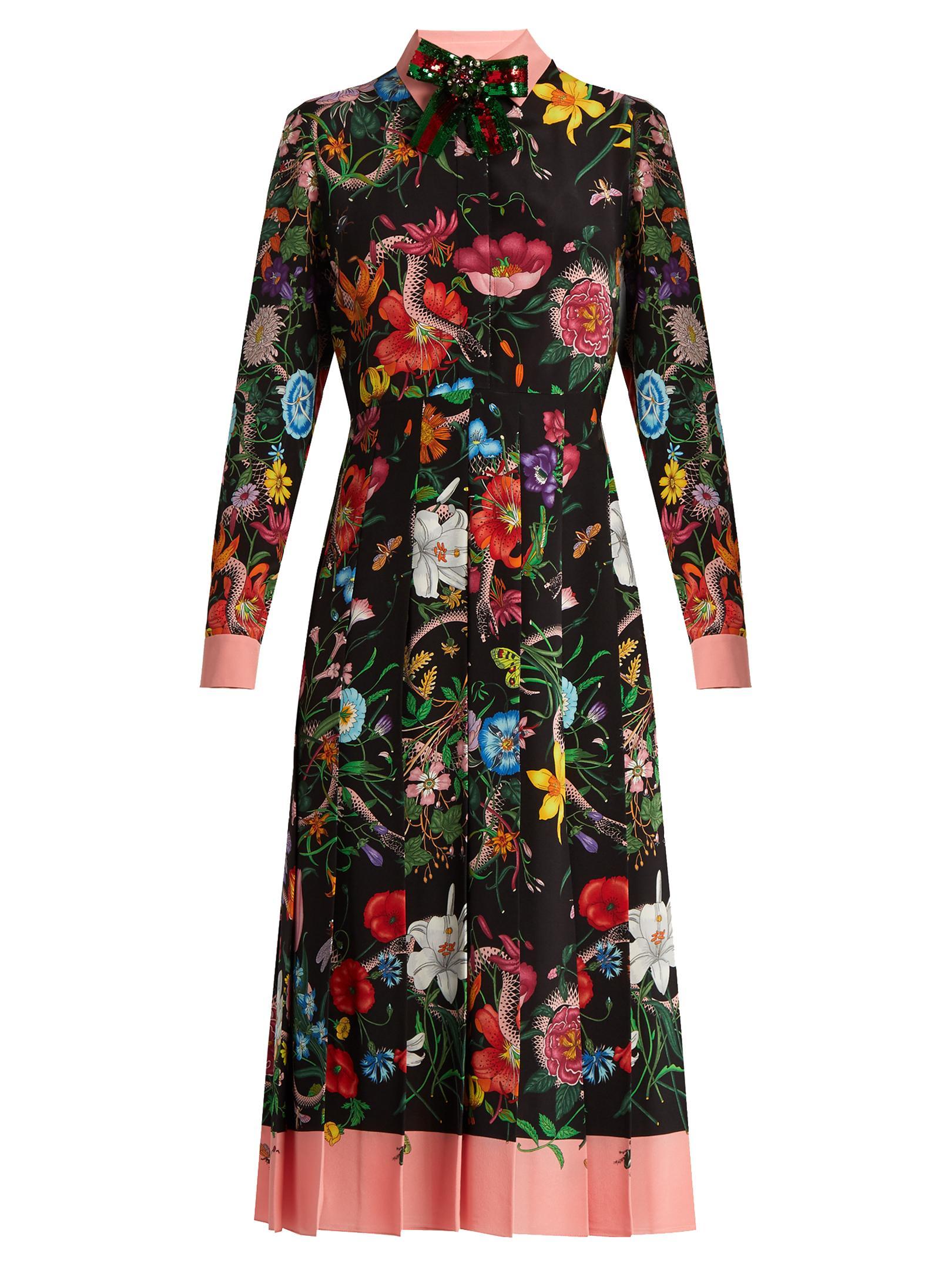 15db868a1cf Gucci Floral And Snake-print Silk Midi Dress in Black