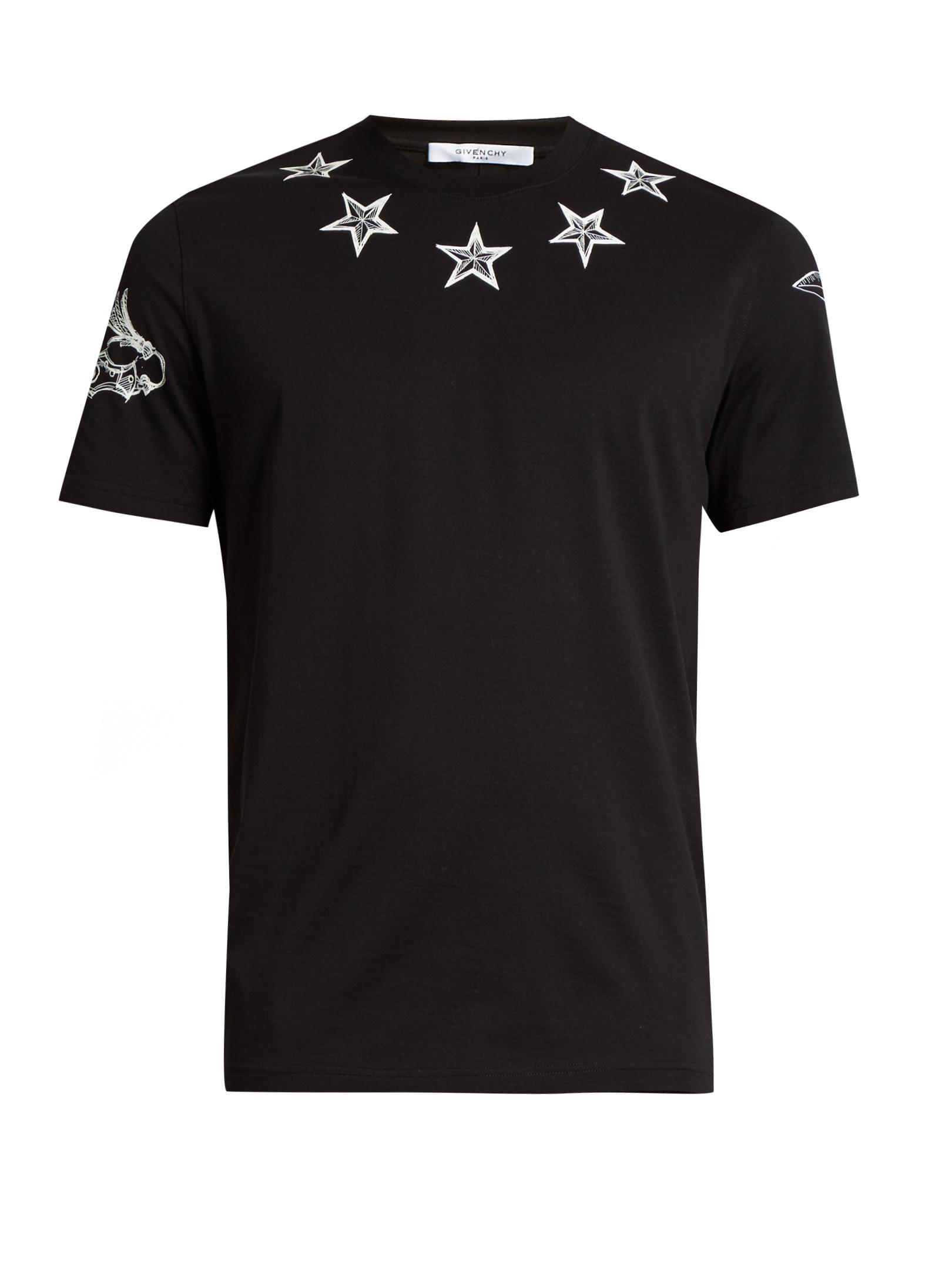 Givenchy star print cotton jersey t shirt in black for men for Givenchy 5 star shirt