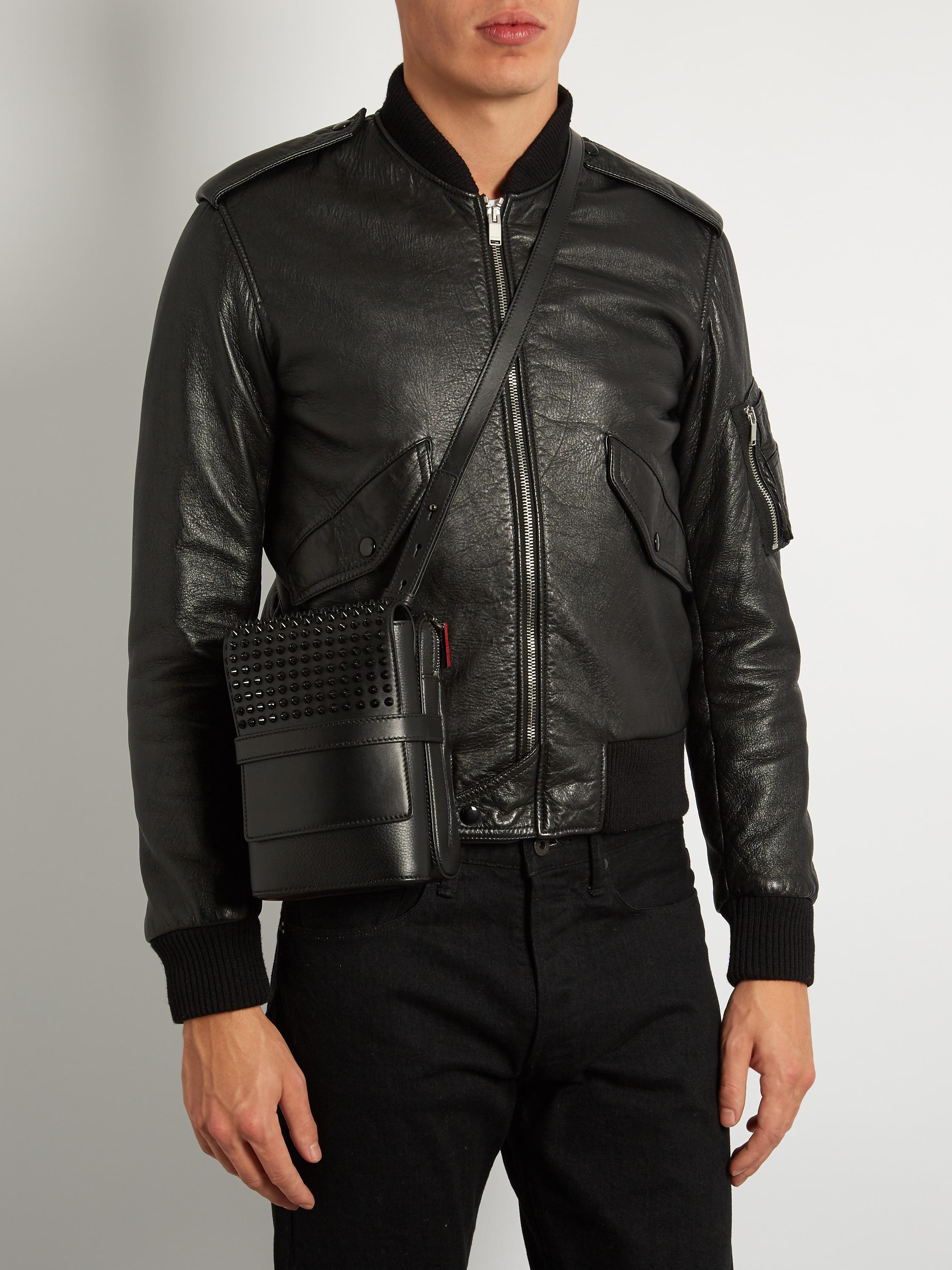 7ea34a49c0f Christian Louboutin Black Benech Reporter Leather Messenger Bag for men