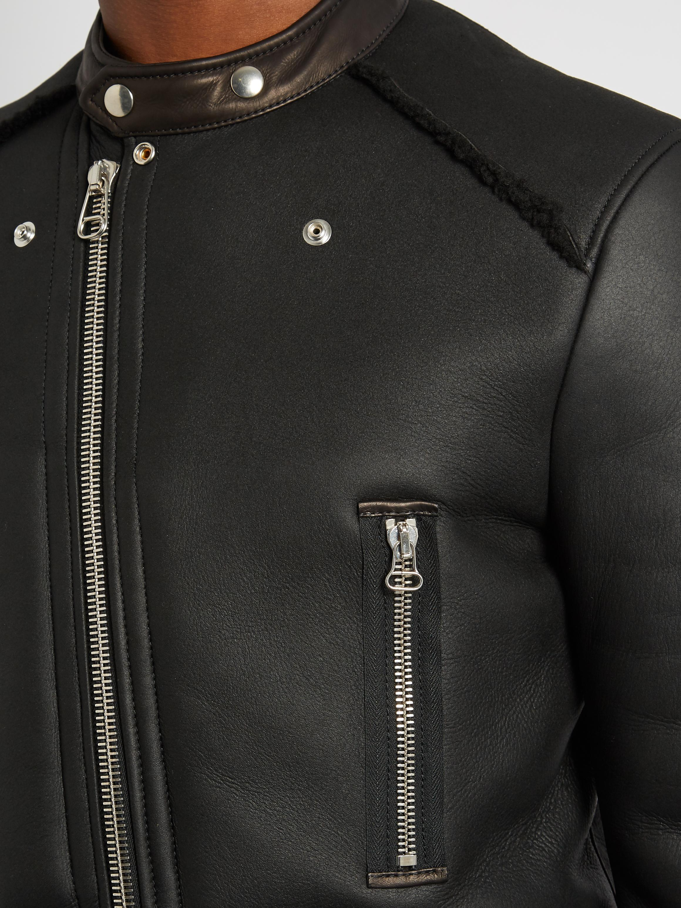 Lanvin Leather Collarless Shearling Jacket in Black for Men