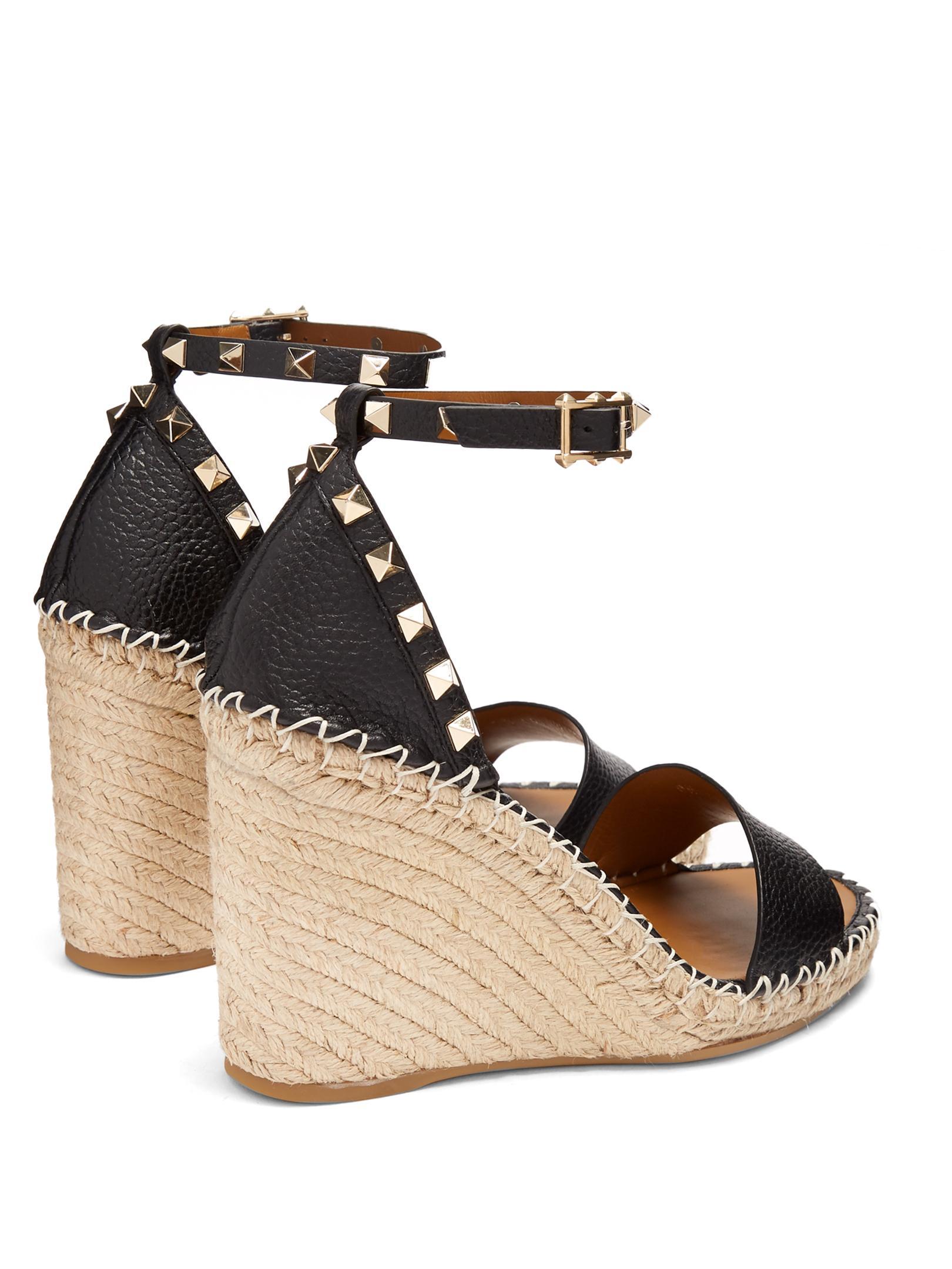 Lyst Valentino Rockstud Leather Espadrille Wedge Sandals