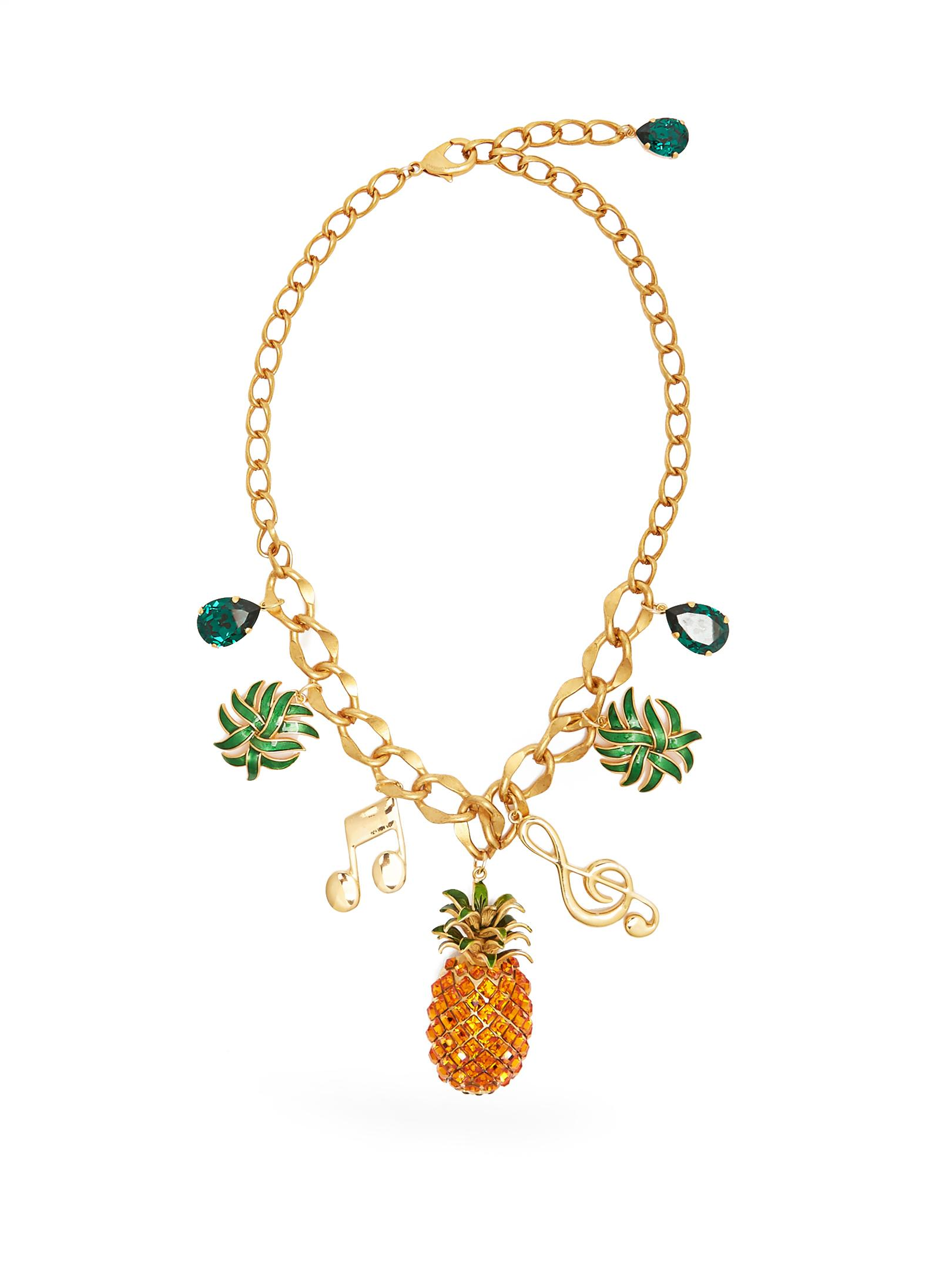 Dolce & Gabbana Silk Crystal-embellished Necklace in Metallic