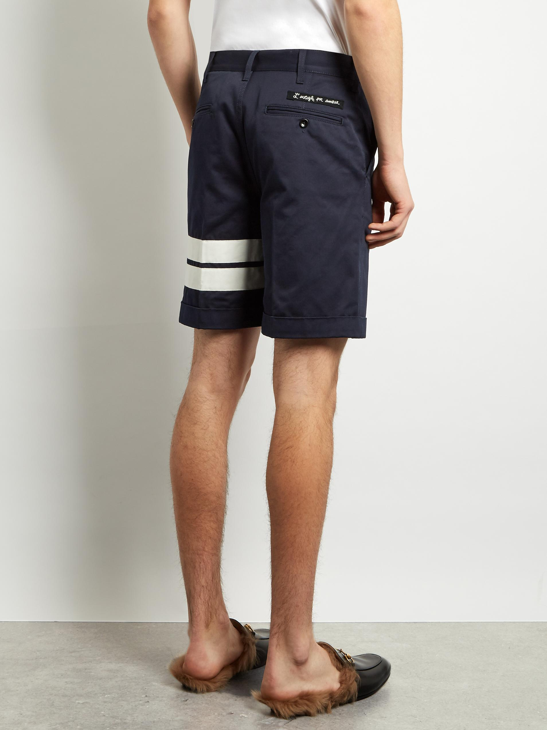 1b08a21f3260 Gucci Tiger-appliqué Cotton-gabardine Shorts in Blue for Men - Lyst