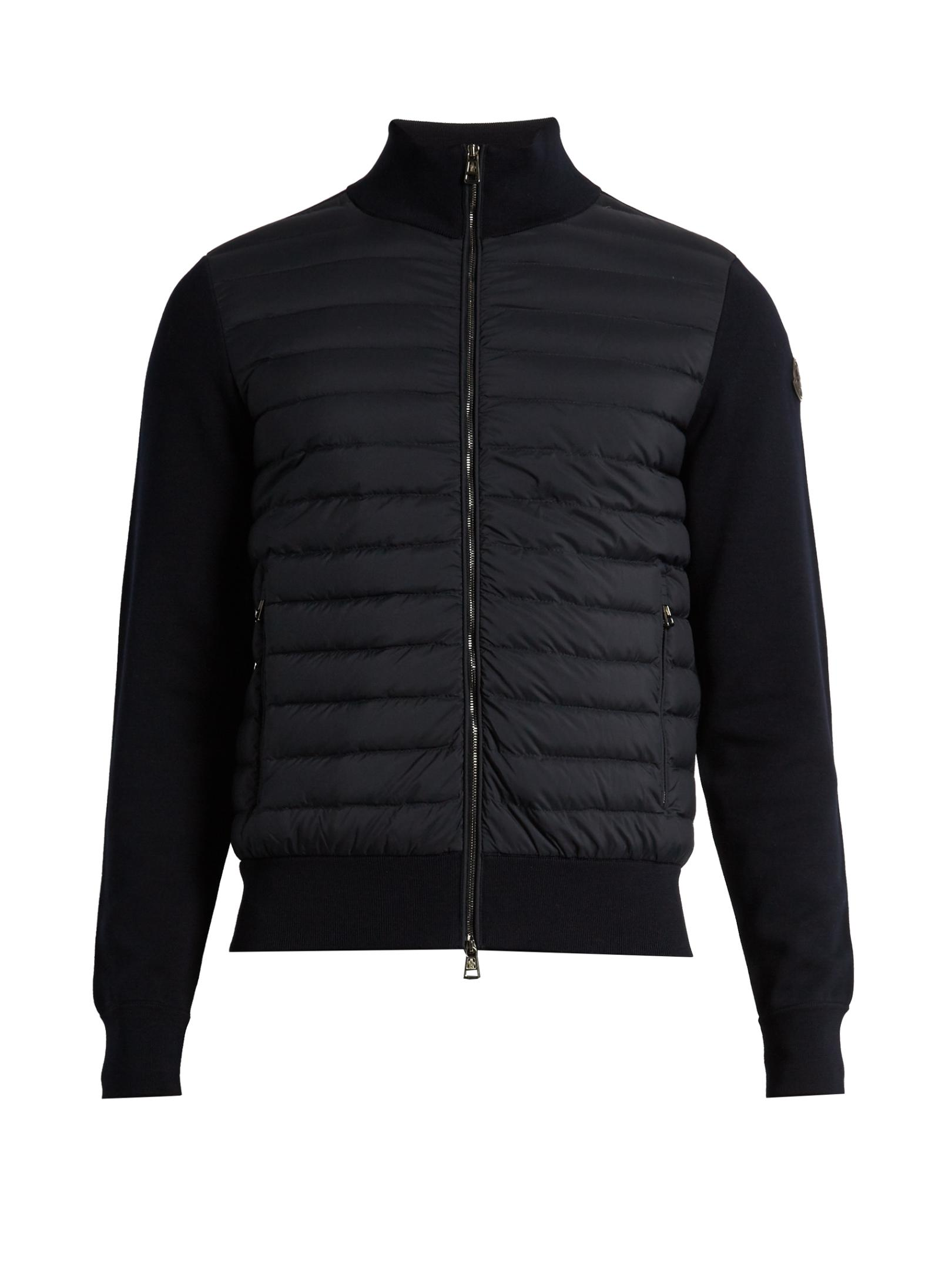 Lyst Moncler Maglia Tricot Contrast Panel Down Jacket In