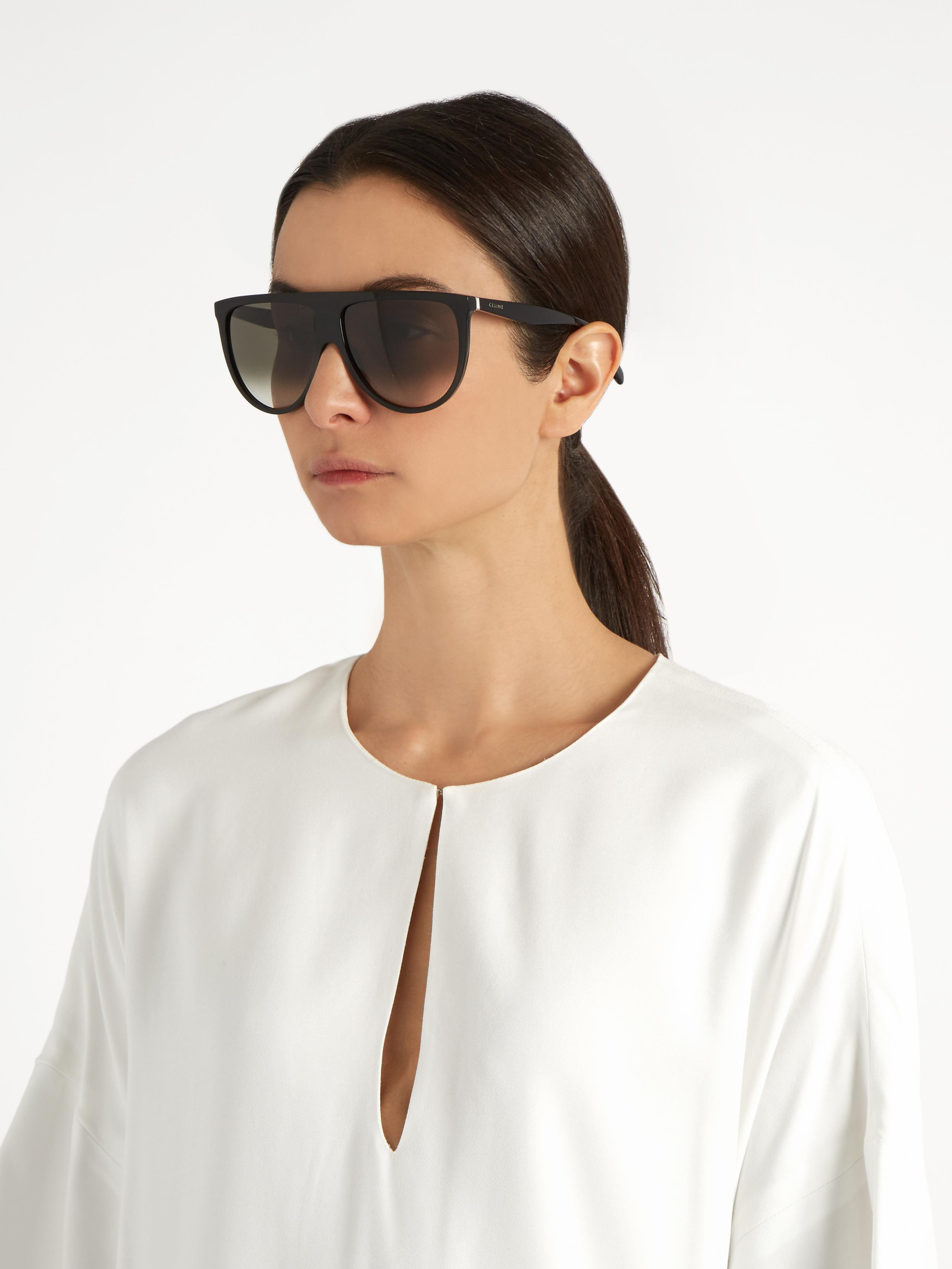 f4f0c266bfa Céline Shadow Flat-top Sunglasses in Black - Lyst