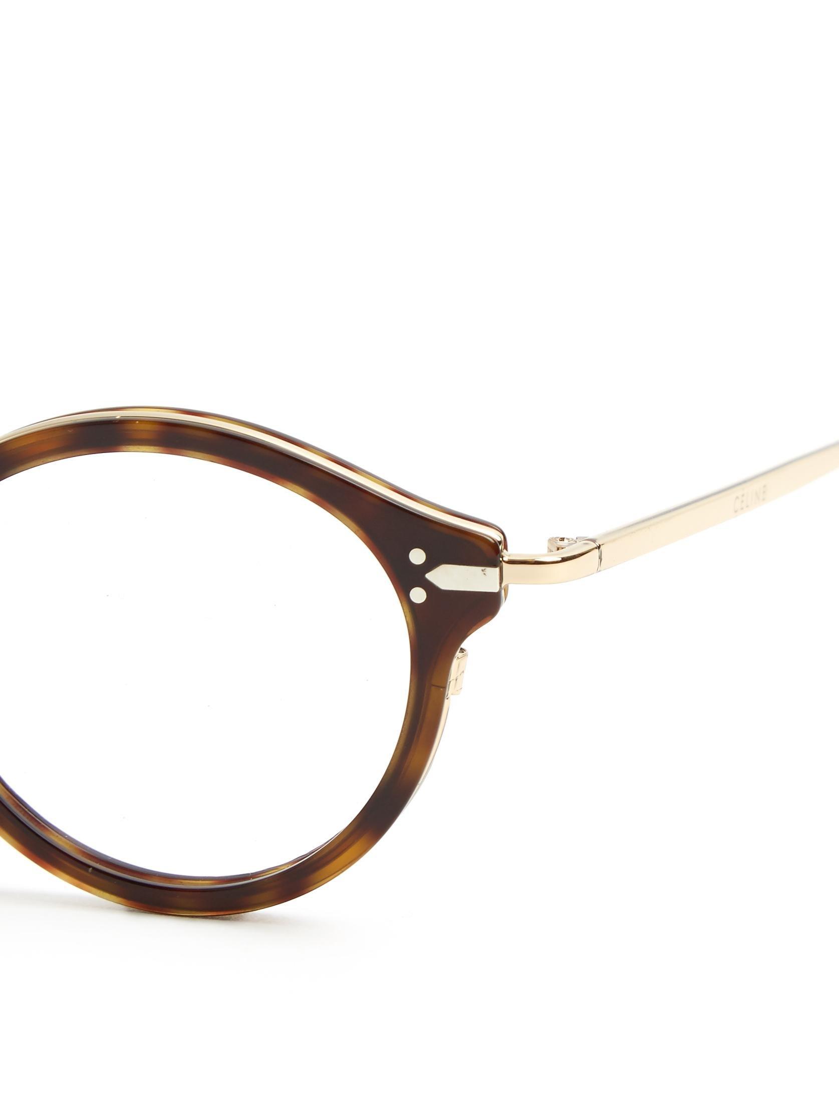 Celine Round-frame Acetate Glasses Lyst