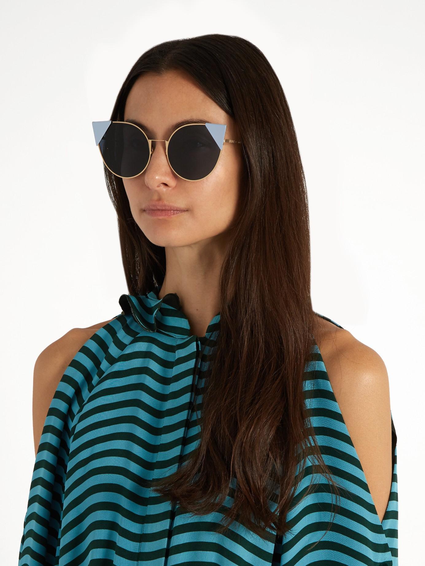a0bb028b67 Fendi Blue Lei Cat-eye Sunglasses