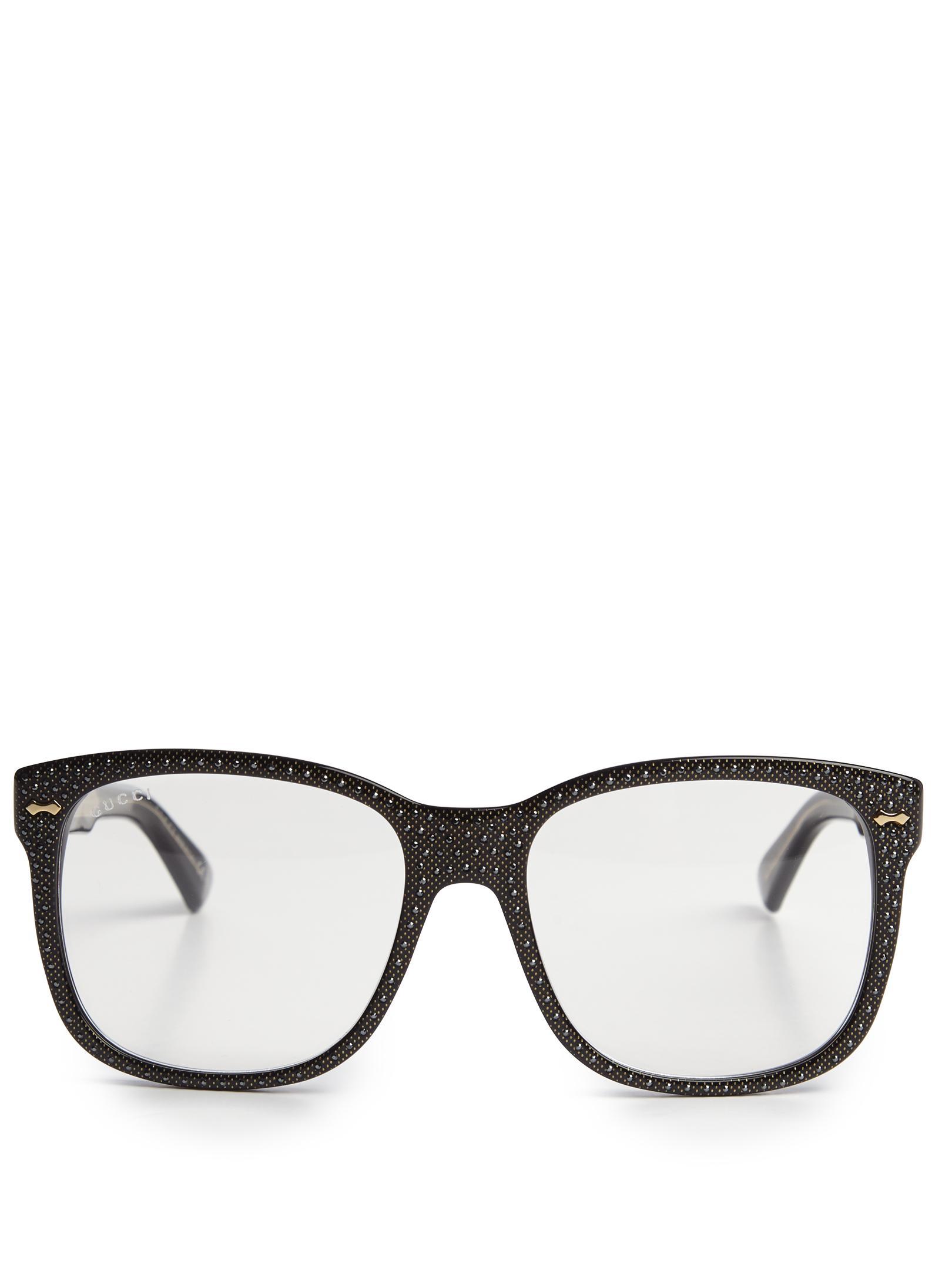 Gucci Embellished D-frame Glasses in Black Lyst