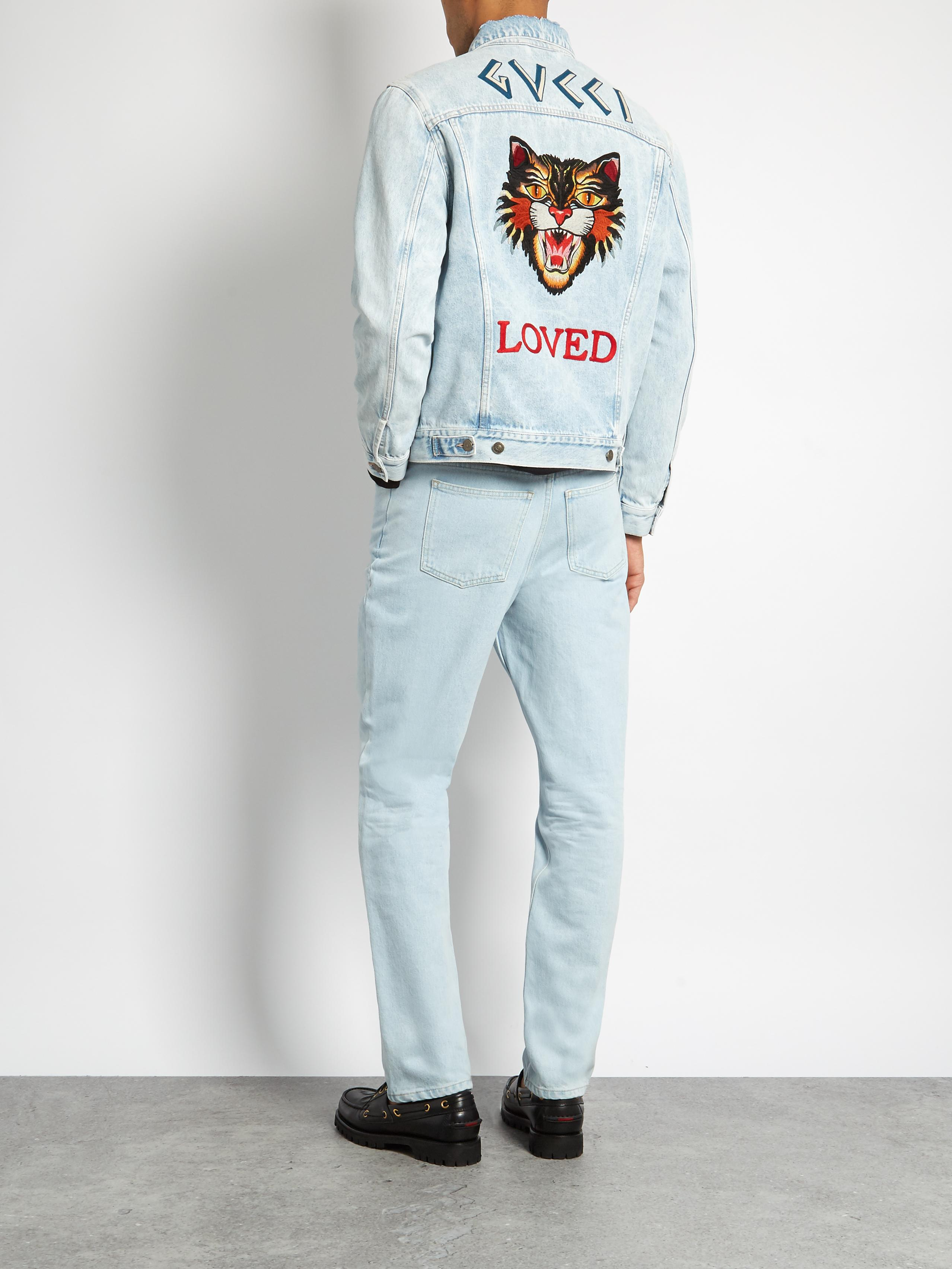 Gucci Loved Embroidered Denim Jacket In Blue For Men Lyst