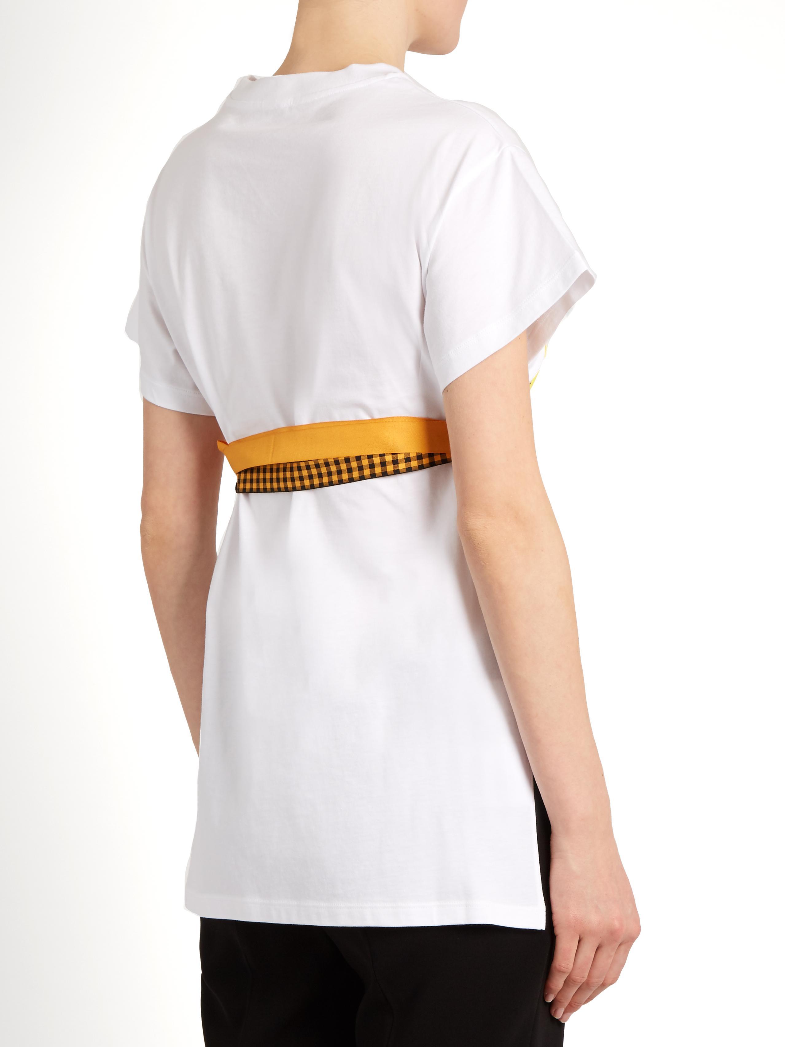 Miu miu pegasus print cotton jersey t shirt in white lyst for Miu miu t shirt