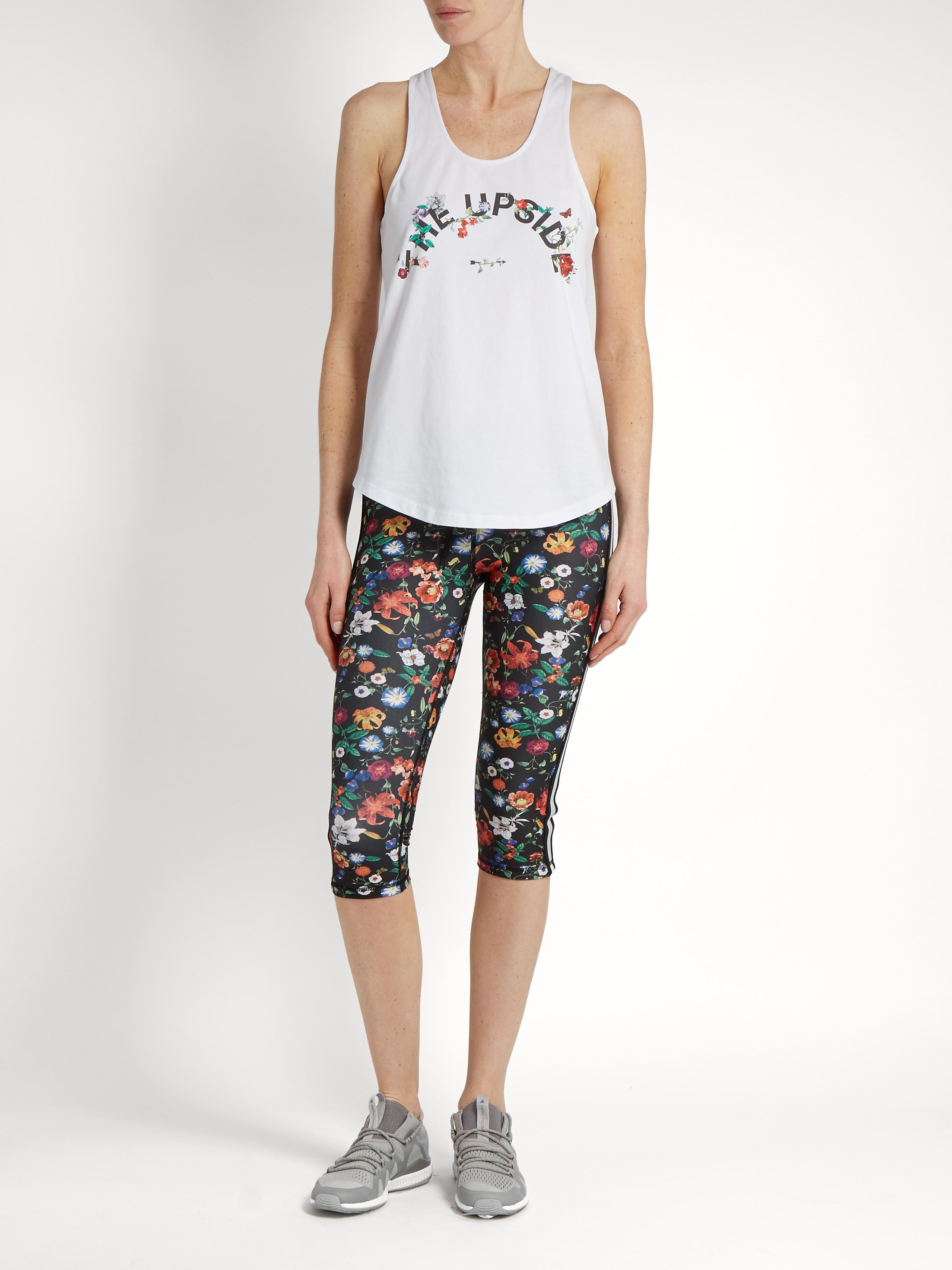 The Upside Cotton Issy Wildflowers-print Performance Tank Top in White