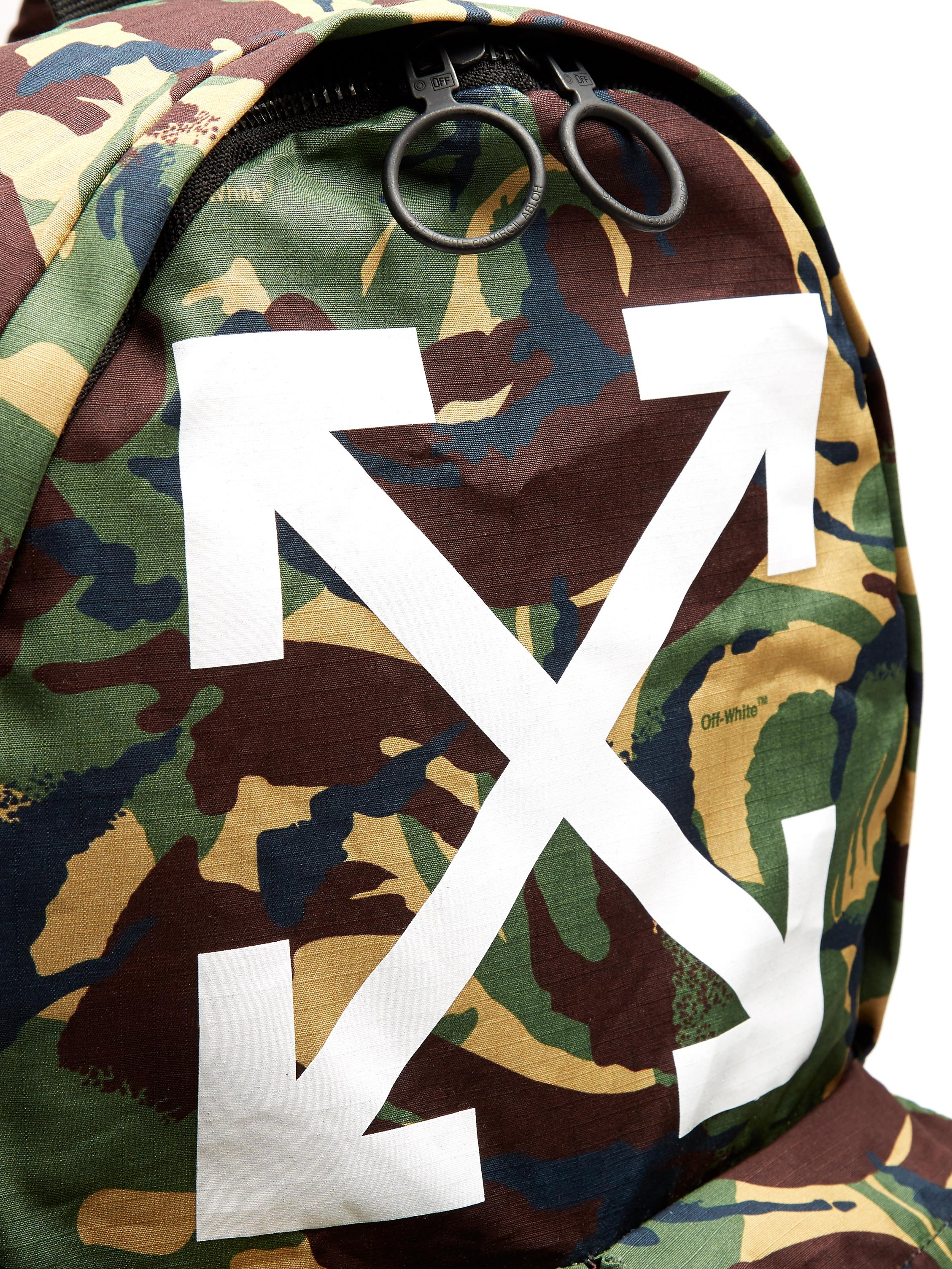 Off-White c/o Virgil Abloh Arrows Cotton Backpack in Green for Men