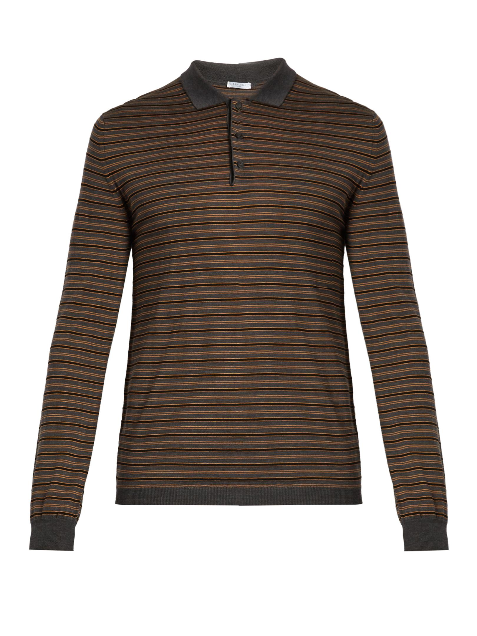 Lyst boglioli long sleeved striped wool blend polo shirt for Long sleeve wool polo shirts