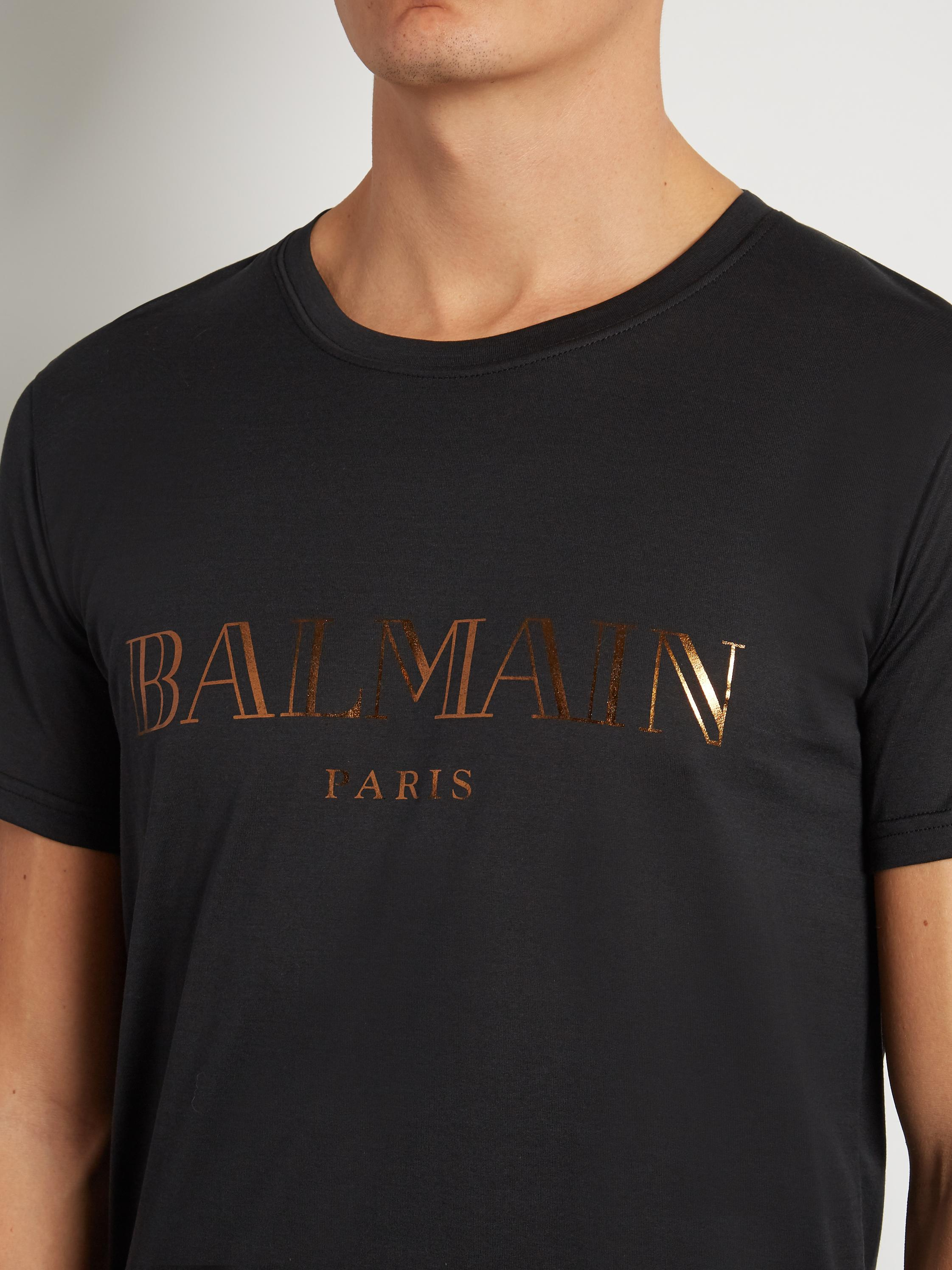 Lyst balmain logo print cotton t shirt in black for men for Lands end logo shirts