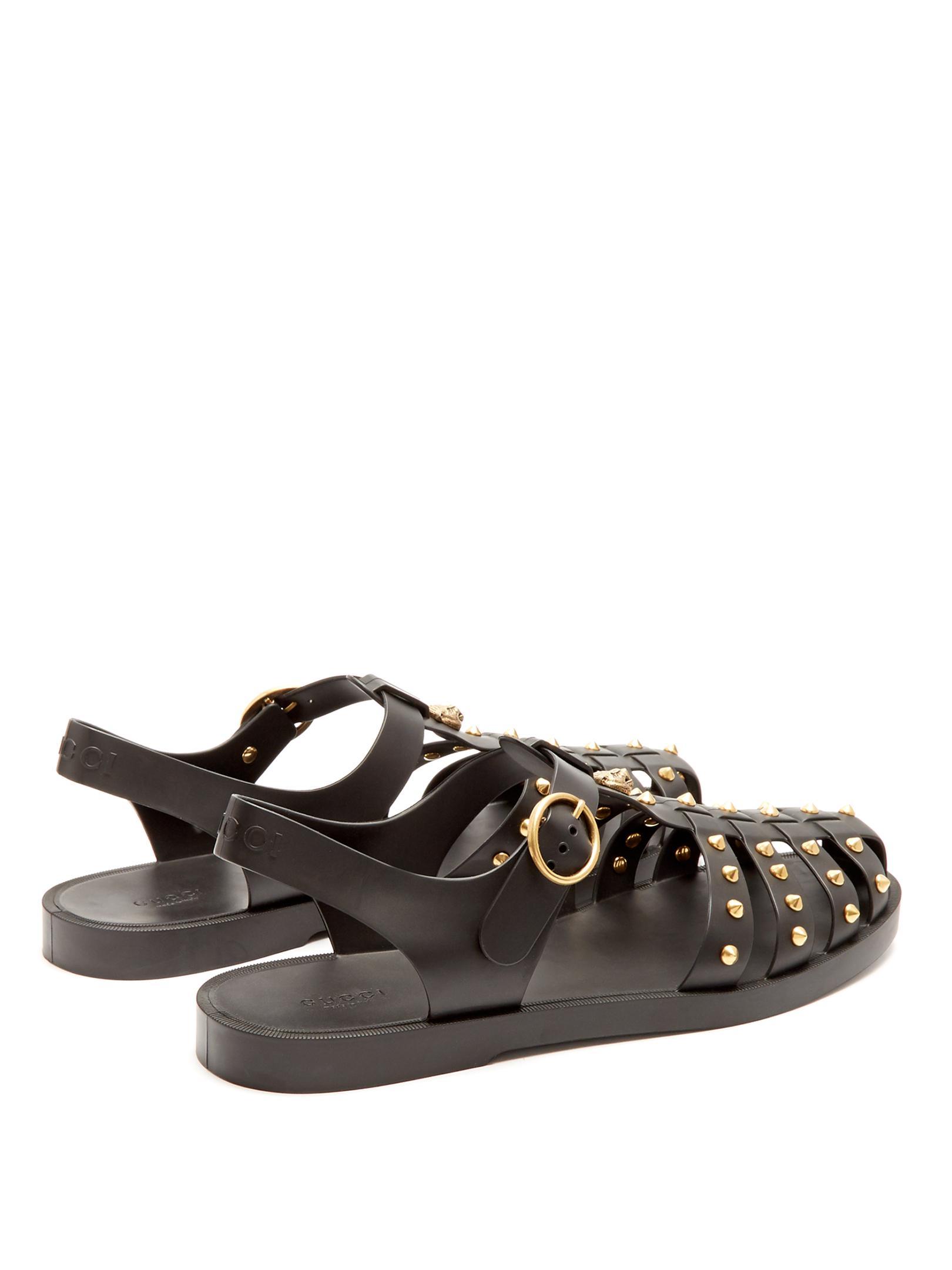 Gucci Stud Embellished Rubber Sandals In Black For Men Lyst