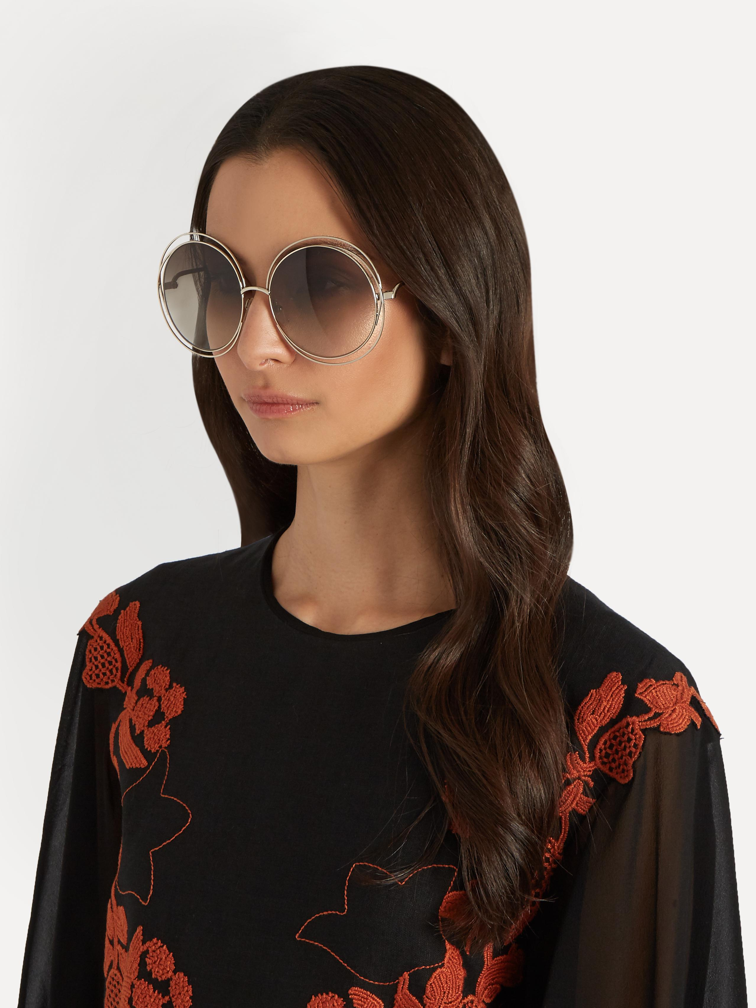 Chloé Carlina Round-frame Sunglasses in Green