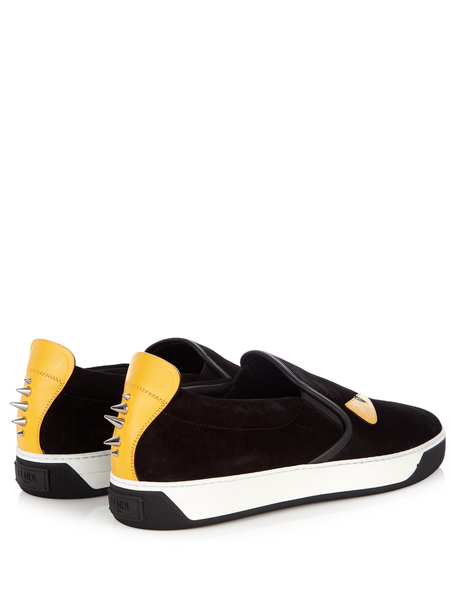 Fendi Bag Bugs Slip-on Leather Trainers in Black for Men