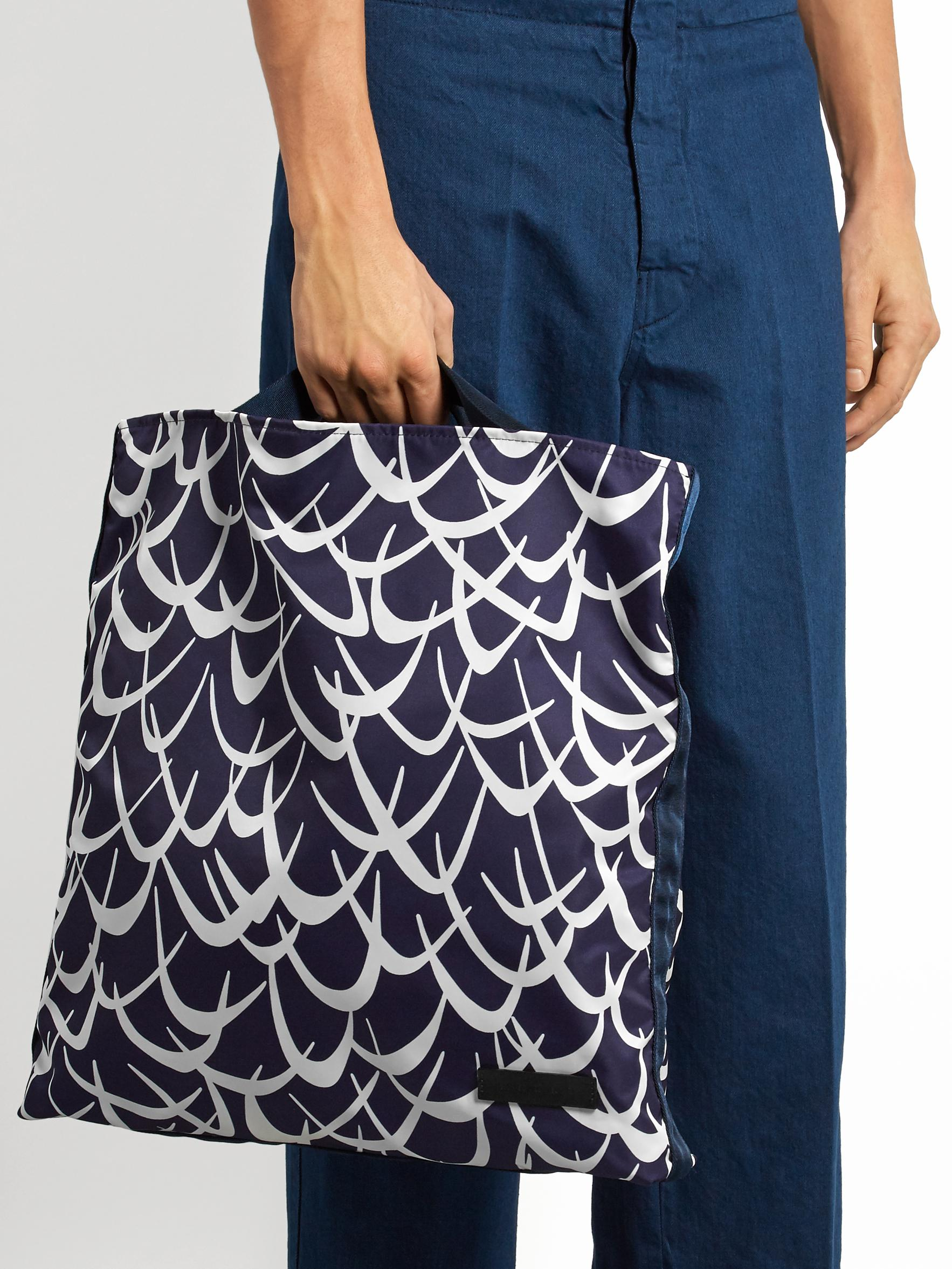 Marni Synthetic Boomerang-print Nylon Tote in Blue