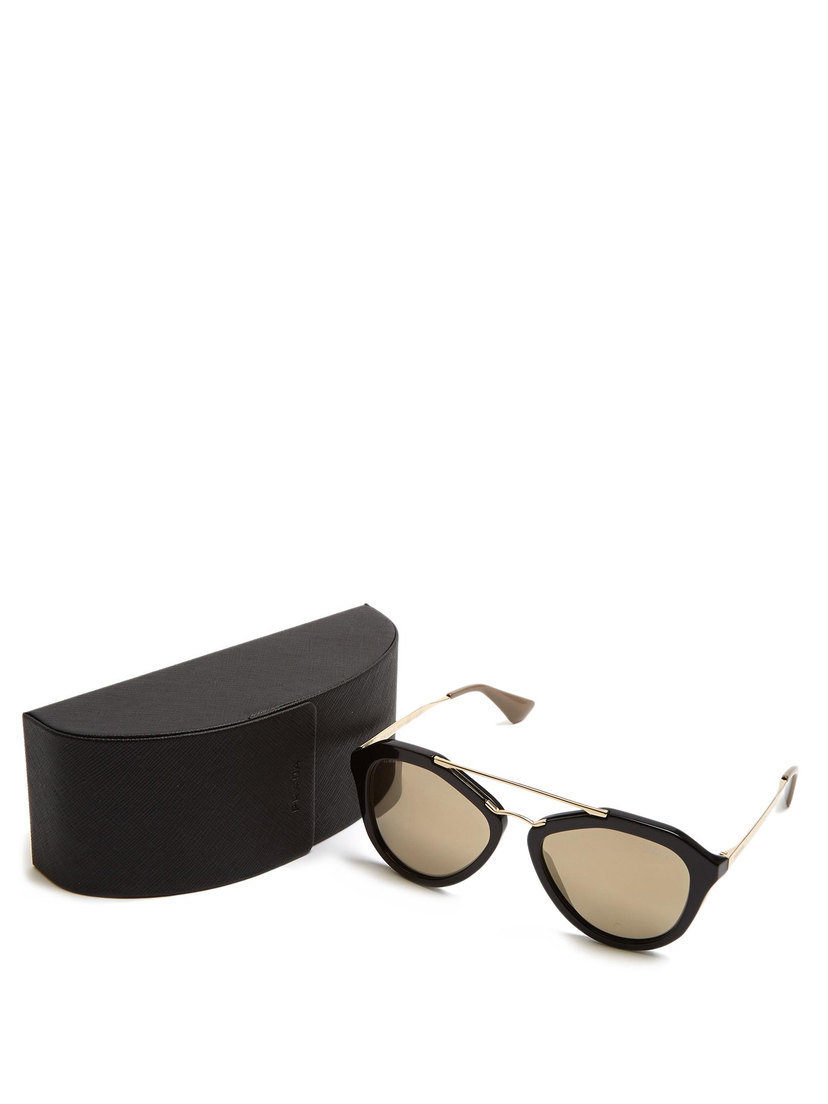 Prada Aviator Acetate Sunglasses in Black