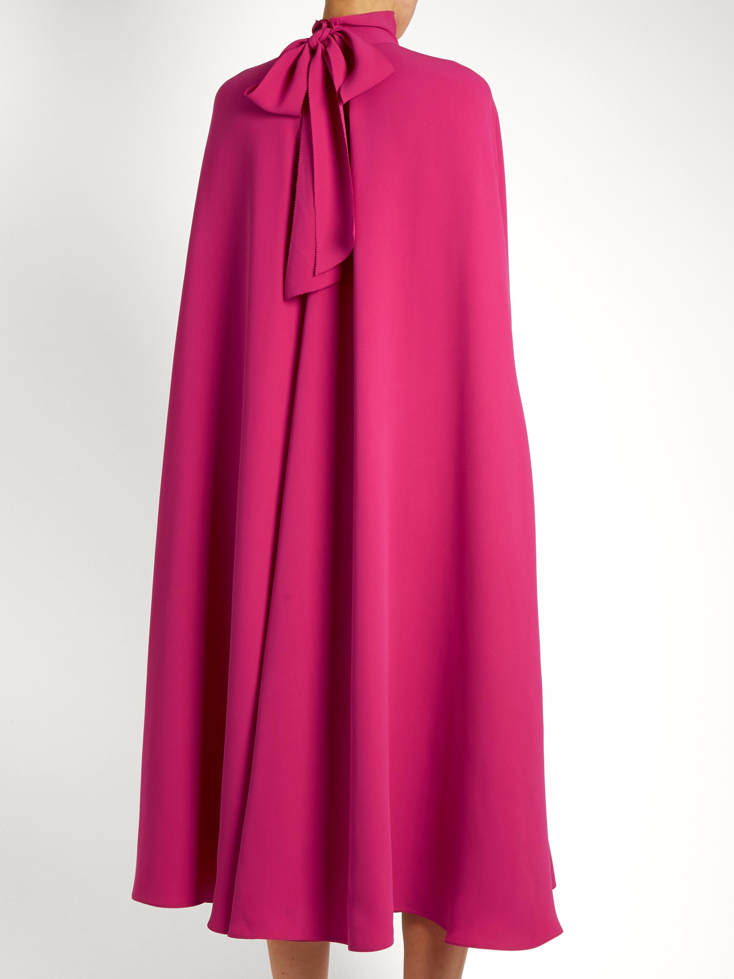 01989488f2 Valentino Pink Silk Cape Dress