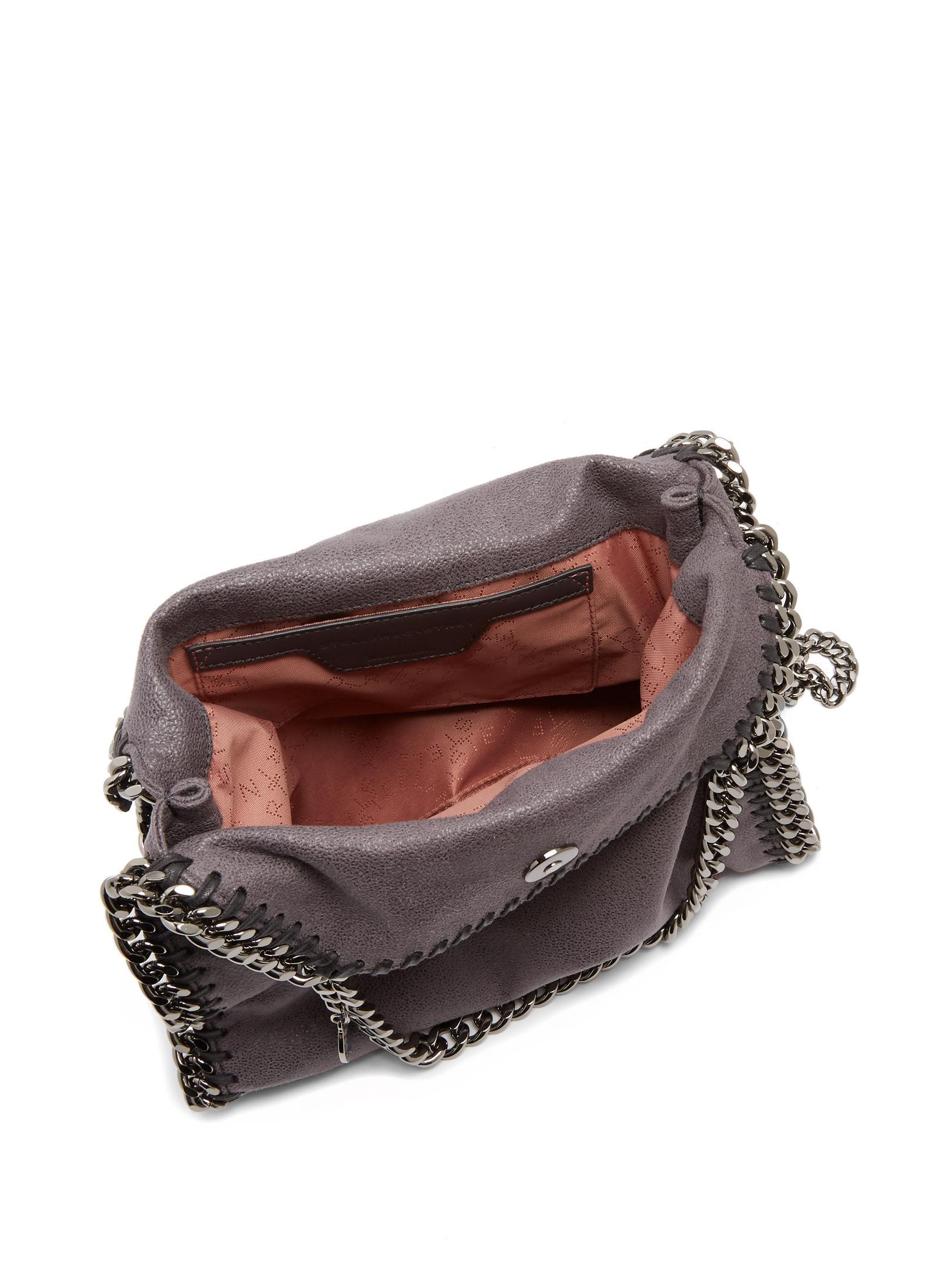 Stella McCartney Falabella Mini Faux-suede Cross-body Bag in Dark Grey (Grey)